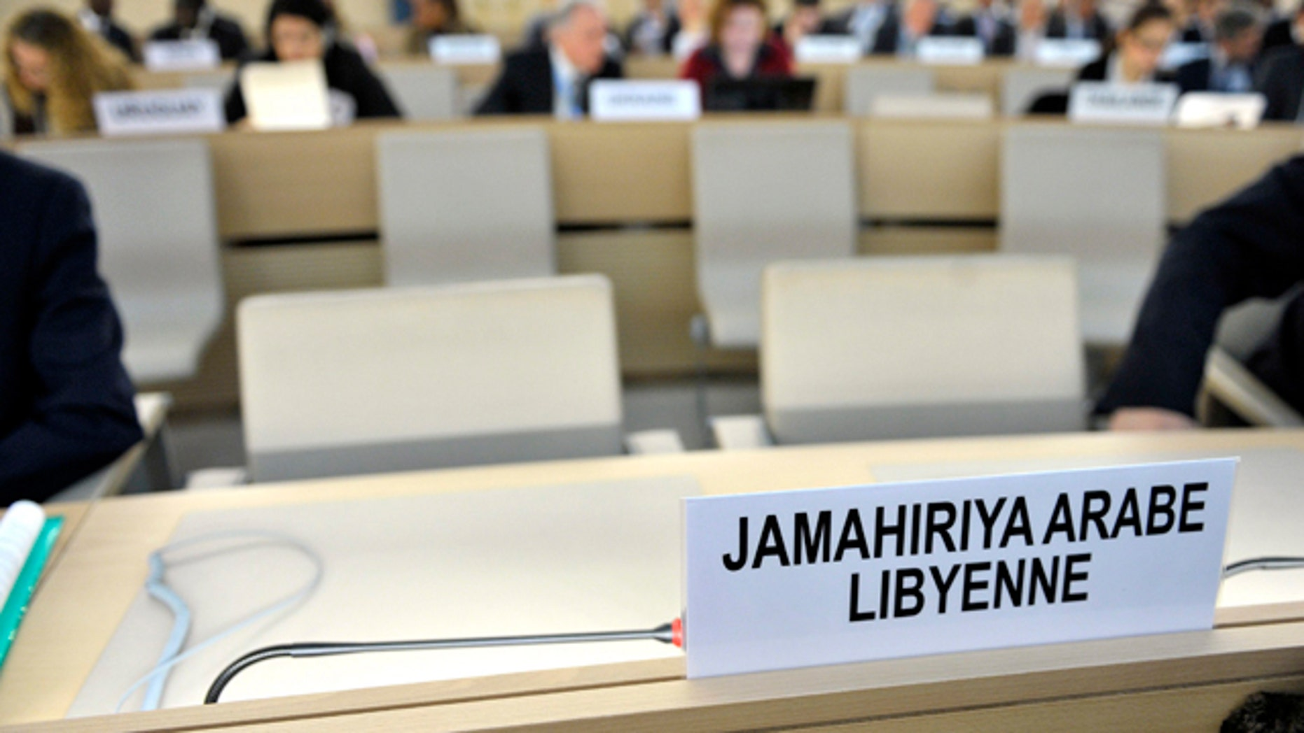 Feb. 25, 2011: The empty seats of the Libyan delegation are pictured before the Human Rights Council holds a Special Session on the situation of the human rights situation in the Libya at the European headquarters of the United Nations in Geneva