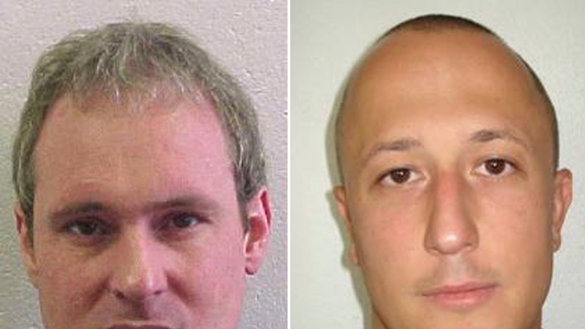 July 25, 2013: The combo of undated wanted photos issued by the police in Vaud, western Switzerland, shows fugitives Adrian Albrecht, left, and Milan Poparovic who escaped from a Swiss prison on after accomplices rammed a gate and fired at guards, police said Friday.