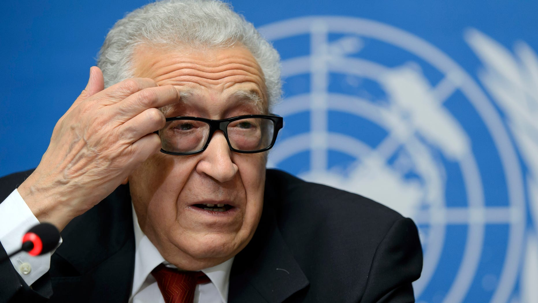 Dec. 20, 2013 - UN Joint Special Representative for Syria Lakhdar Brahimi talks to the media during a press conference at the European headquarters of the United Nations, in Geneva, Switzerland.