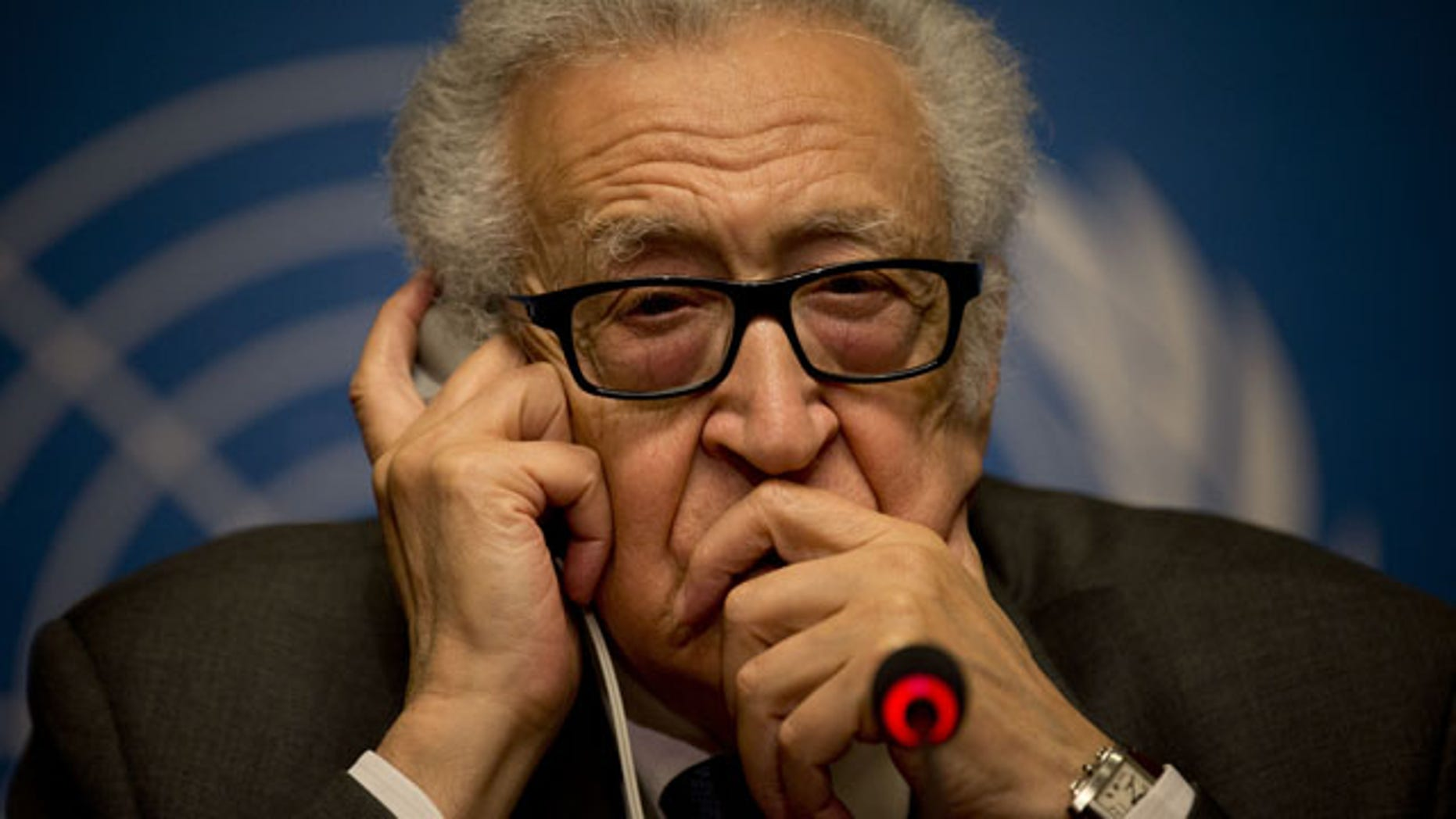 January 25, 2014: U.N. mediator Lakhdar Brahimi gestures during a press briefing at the United Nations headquarters in Geneva, Switzerland. (AP Photo)