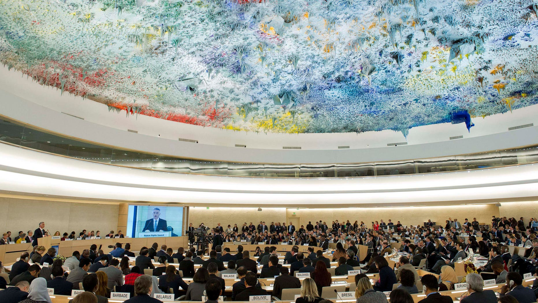 FILE -- The Human Rights Council, at the European headquarters of the United Nations in Geneva, Switzerland.
