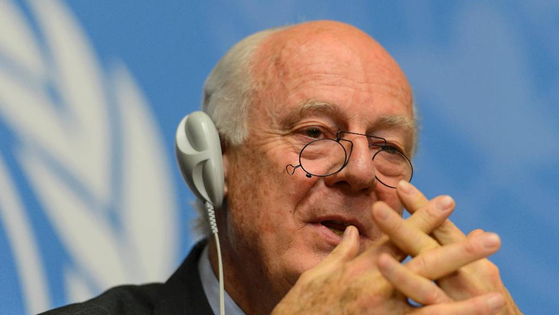 The UN Special Envoy of the Secretary General for Syria Staffan de Mistura speaks during a press conference on the situation in Syria at the European headquarters of the United Nations in Geneva, Switzerland, Tuesday, May 5, 2015. (Jean-Christophe Bott/Keystone via AP)