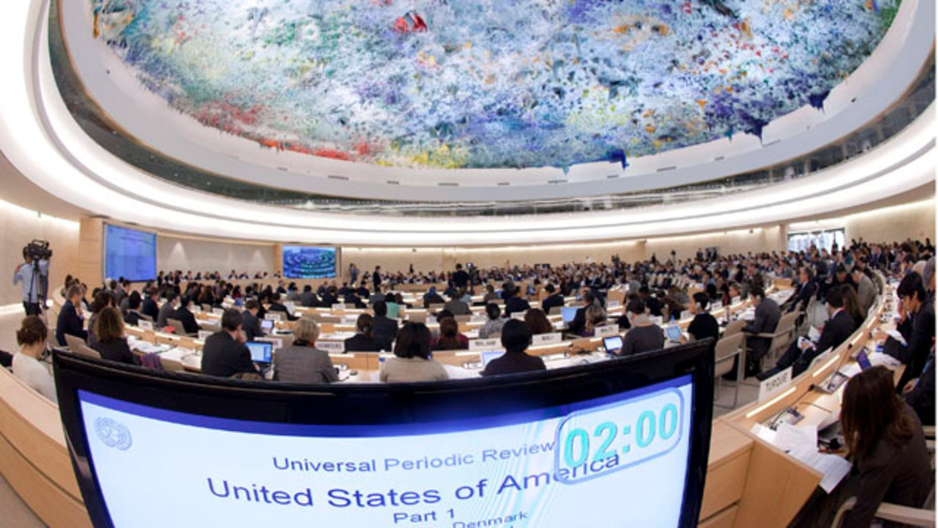 Nov. 5: General view of the assembly hall during the Universal Periodic Review (UPR) on the United States of America of the Human Rights Council at the European headquarters of the United Nations in Geneva, Switzerland.