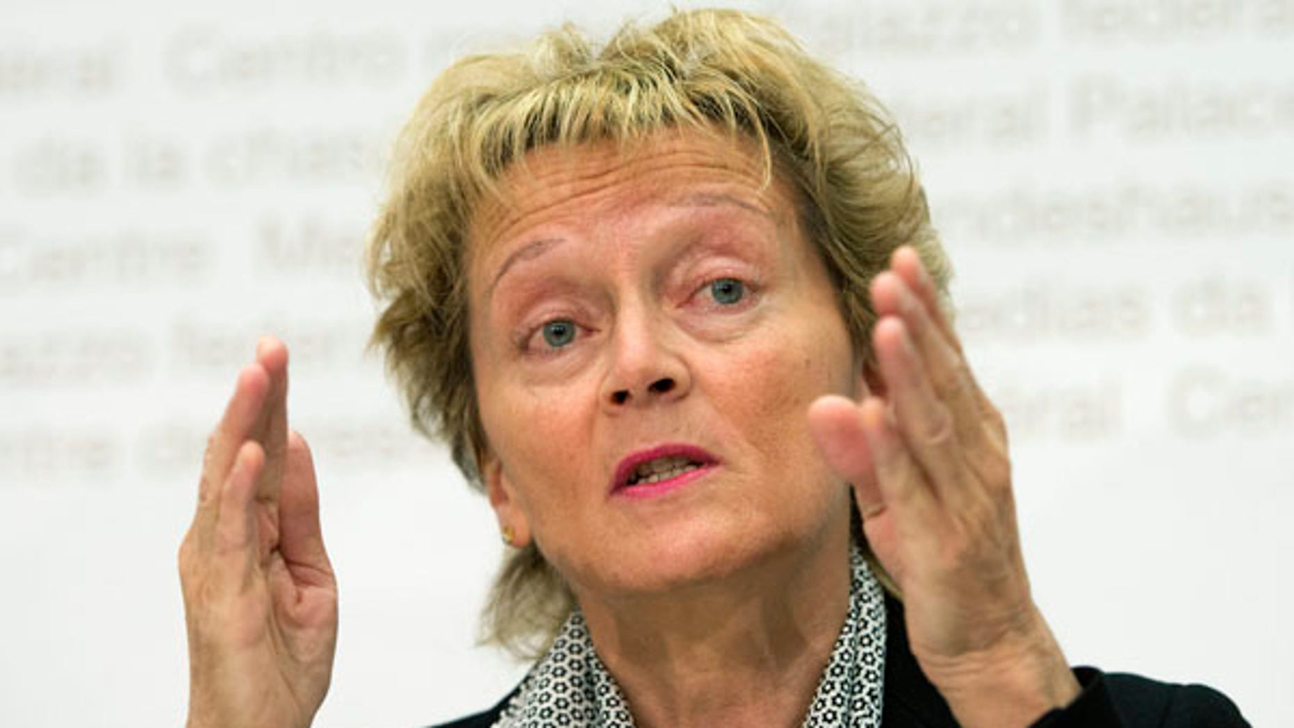 May 29, 2013: Swiss Finance Minister Eveline Widmer-Schlumpf speaks during a press conference in Bern, Switzerland. The Swiss government says it will let banks circumvent the country's strict client secrecy laws as part of an effort to end a long-running tax evasion dispute with the United States.