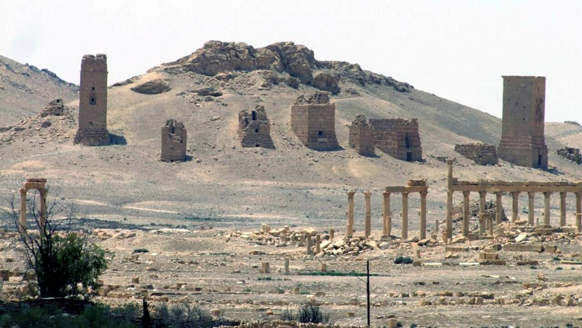 FILE - This file photo released on Sunday, May 17, 2015, by the Syrian official news agency SANA, shows the general view of the ancient Roman city of Palmyra, northeast of Damascus, Syria. Syrian activists said late Sunday, Oct. 4, 2015, that Islamic State militants have destroyed a nearly 2,000-year-old arch in the ancient city of Palmyra, the latest victim in the group's campaign to destroy historic sites across the territory it controls in Iraq and Syria. (SANA via AP, File)