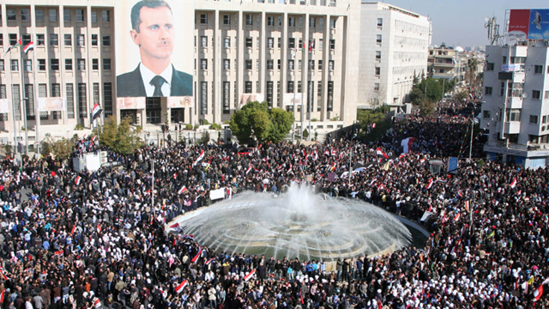 Nov. 28: Pro-Syrian regime protesters gather during a protest against the Arab League sanctions, in Damascus.