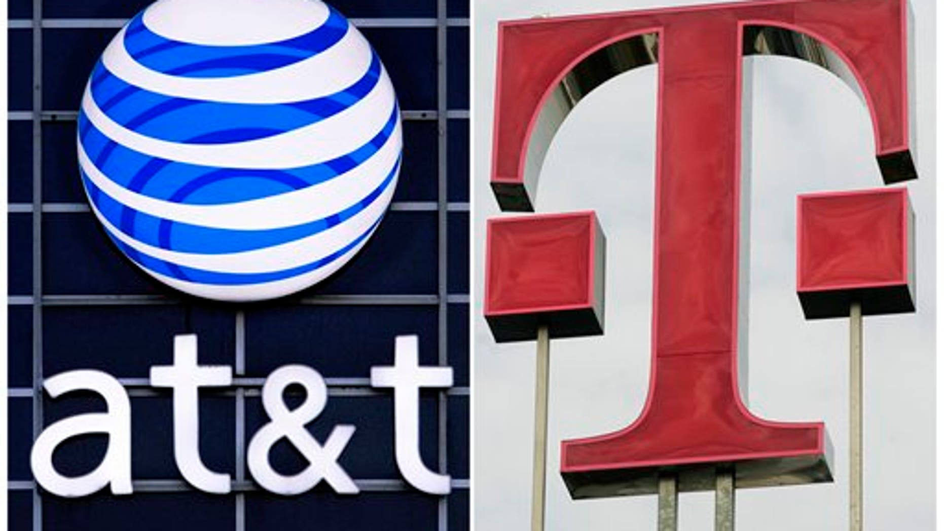 FILE - This file combination photo displays logos for AT&T, left, and Deutsche Telekom AG. The Justice Department filed suit Wednesday, Aug. 31, 2011, to block AT&T's $39 billion deal to buy T-Mobile USA on grounds that it would raise prices for consumers. (AP Photo/dapd File)