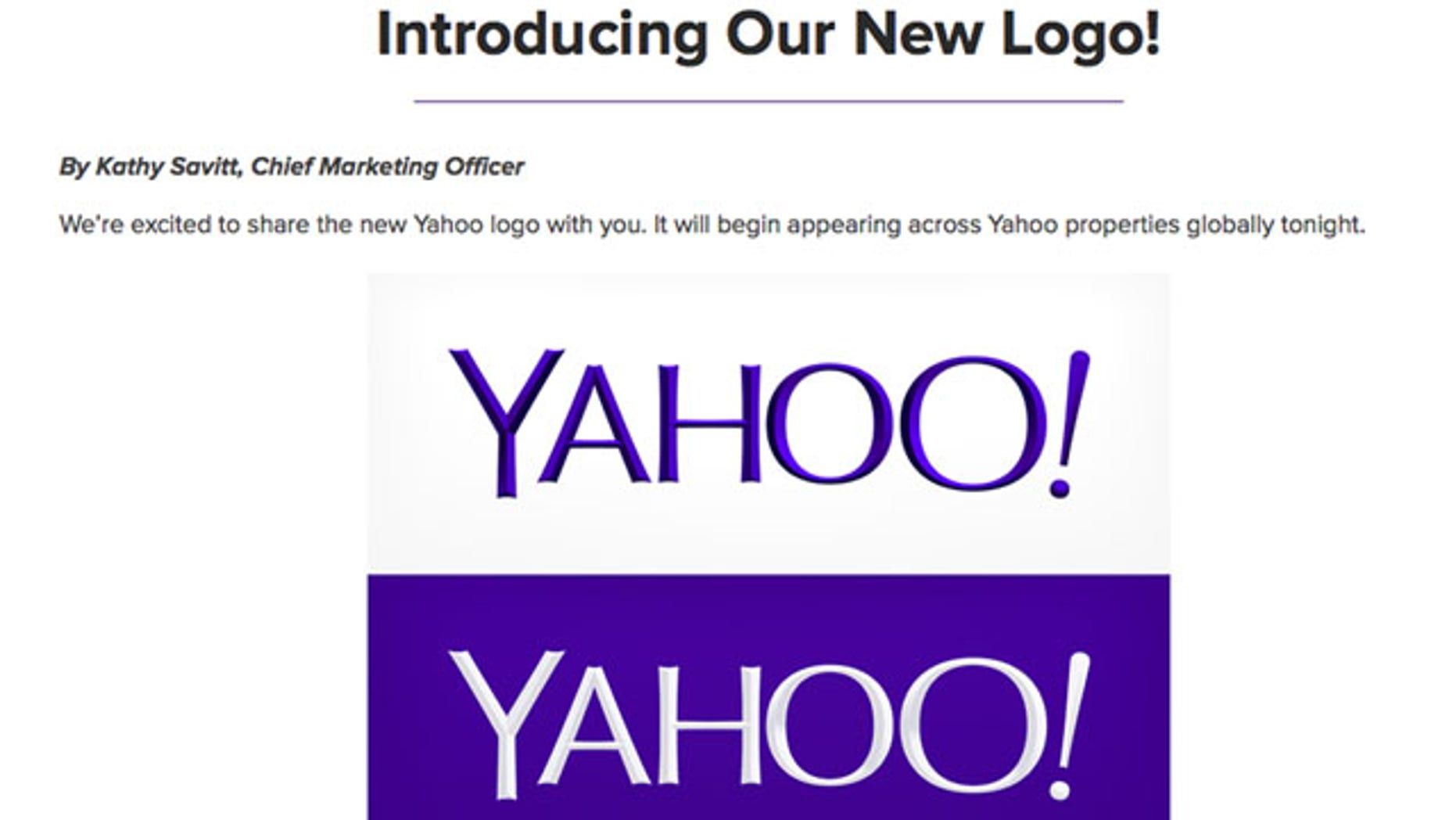 September 4, 2013: This screen grab made from Yahoo Inc.'s Tumblr page shows the company's new logo in a post published on Wednesday. Yahoo has adopted a new logo for the first time since shortly after the Internet company's founding 18 years ago. The redesigned look unveiled late Wednesday is part of a makeover that Yahoo Inc. has been undergoing since the Sunnyvale, Calif., company hired Google executive Marissa Mayer to become Yahoo's CEO. (AP Photo/Yahoo Inc.)