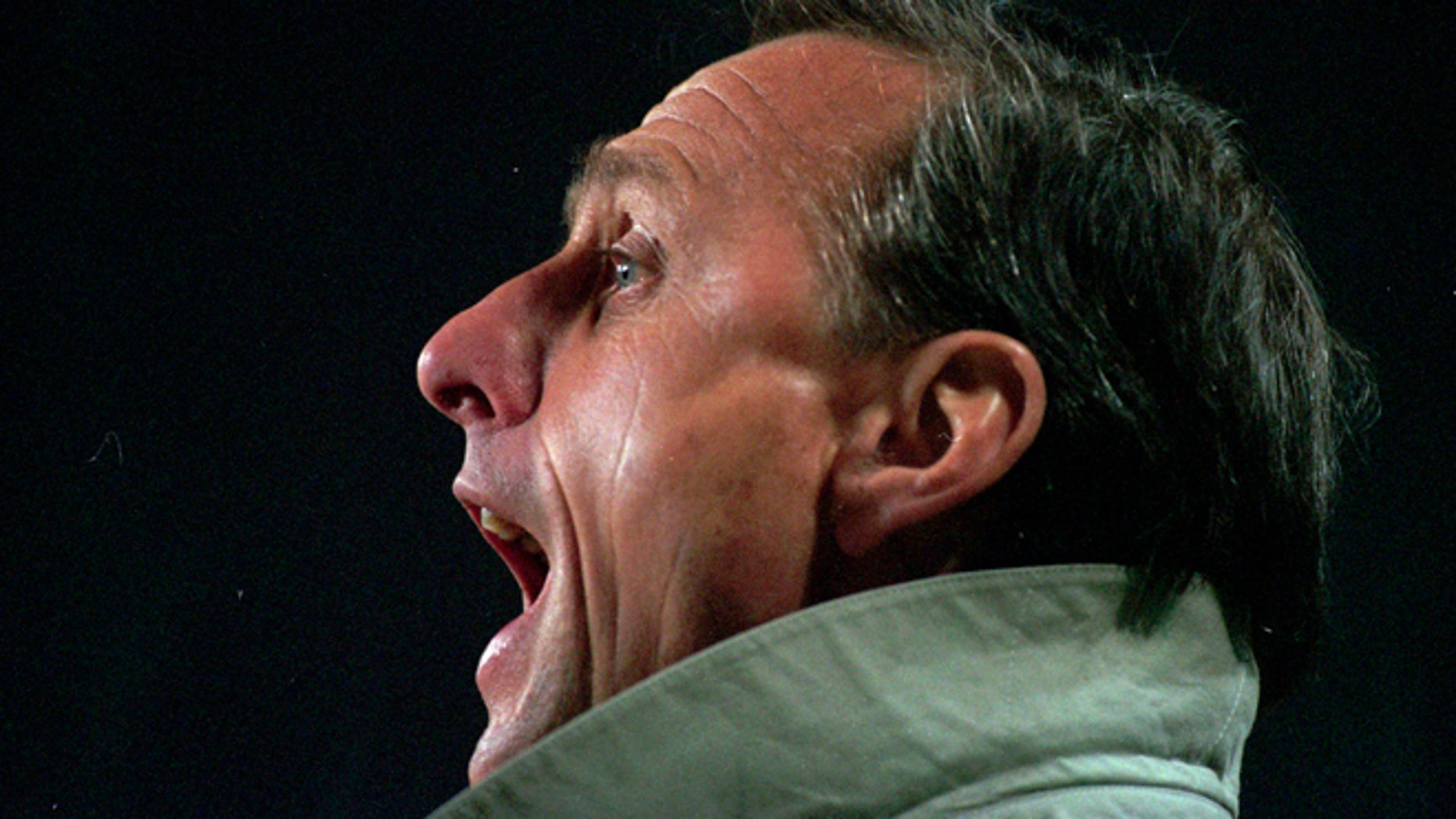 FILE - In this March 1996 file photo soccer coach Johan Cruyff shouts during a soccer match in Eindhoven, Netherlands.   Dutch soccer great Johan Cruyff has died in Barcelona on Thursday, March 24, 2016 at the age of 68.  (AP Photo/Peter Dejong, File)