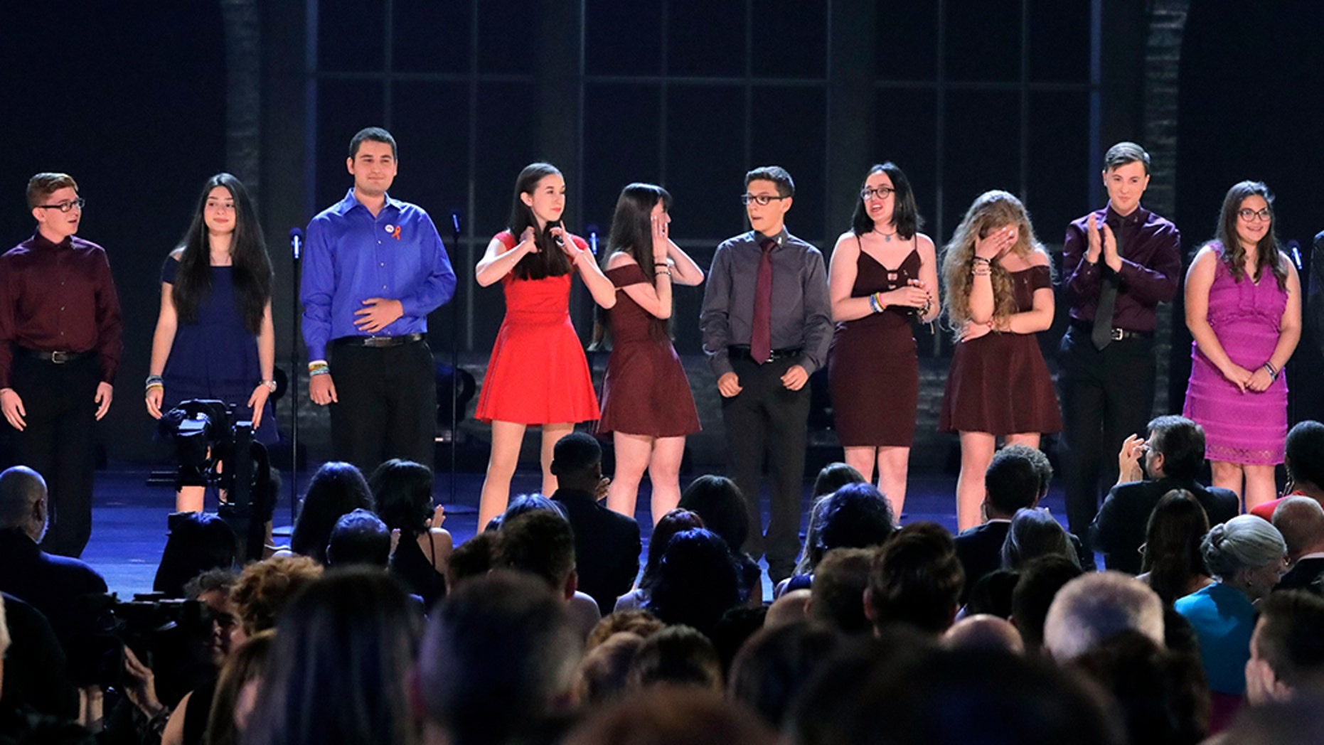 The drama class from Marjory Stoneman Douglas High School performed at the Tony Awards in New York City.