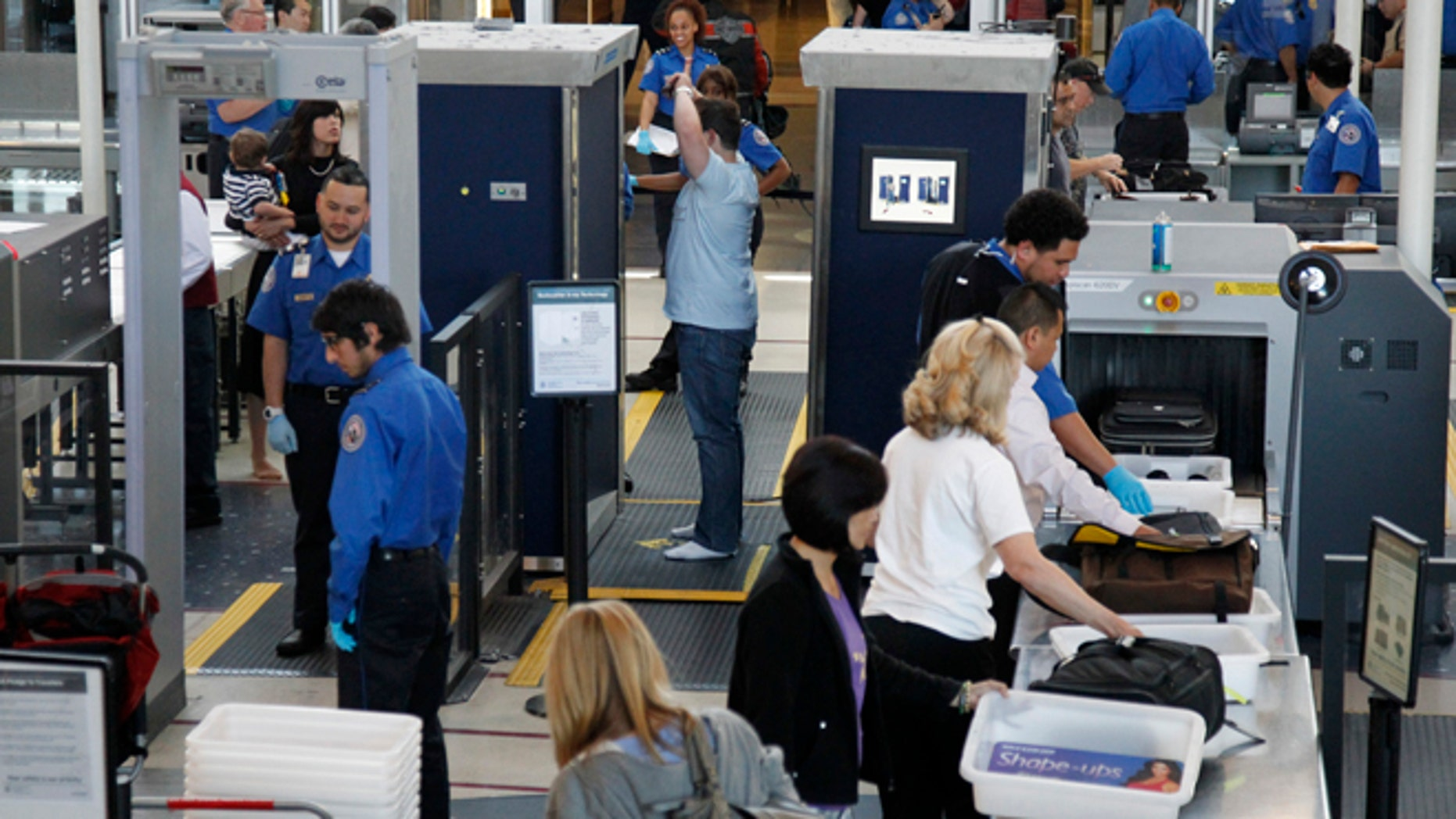 This May 2, 2011 photo shows a TSA security checkpoint at Los Angeles International Airport, in Los Angeles CA.