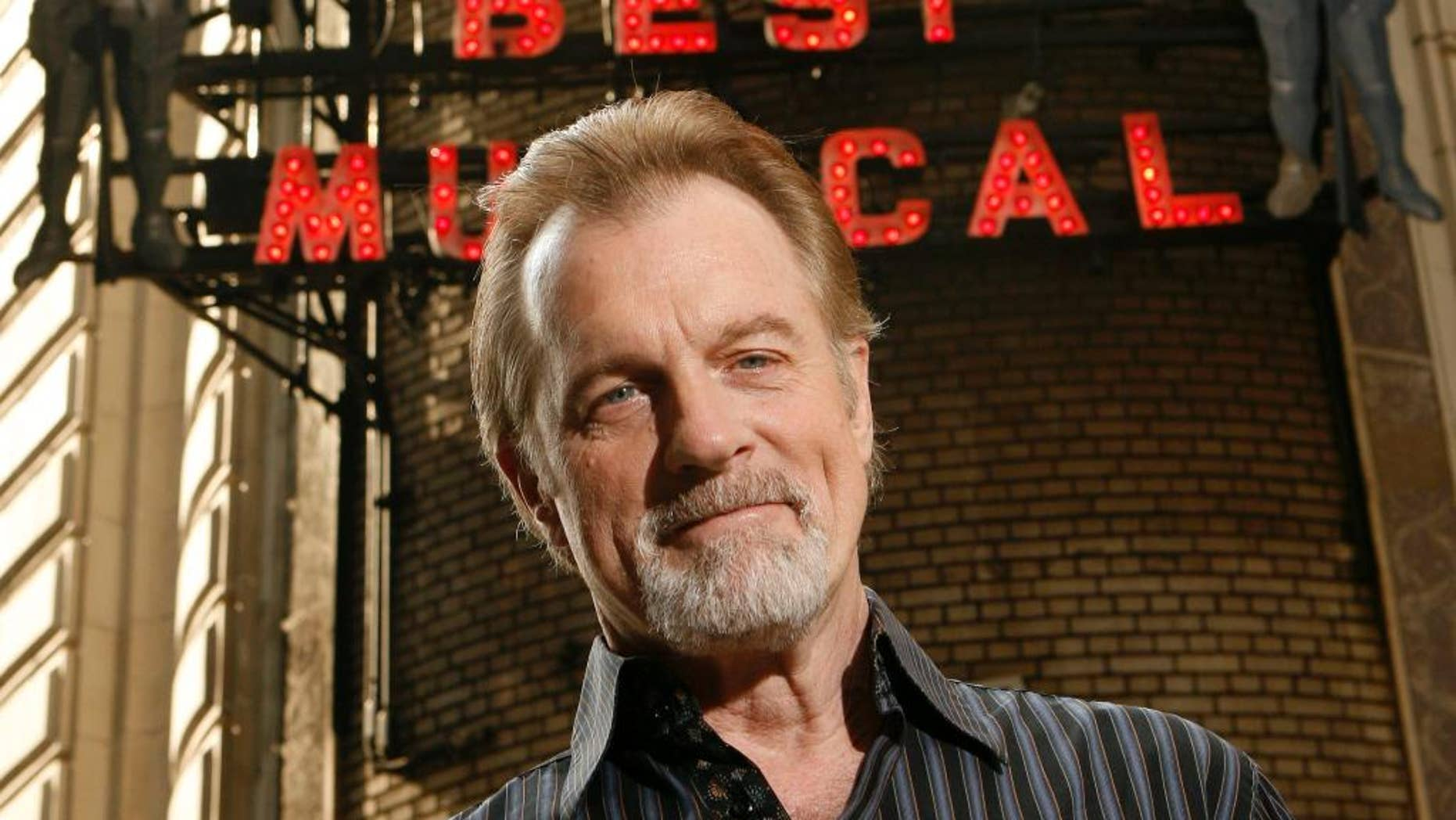 """FILE - In this July 1, 2008 file photo, actor Stephen Collins poses for a picture outside of the Shubert Theatre in New York. ABC said Thursday, Oct. 9, 2014, that Collins, who was supposed to repeat a one-time role as a television anchorman on the hit Thursday drama, will have his scenes eliminated. The network said it isn't clear how the episode will be rewritten. It was scheduled to air later this season. New York police said this week they are investigating charges that the former """"7th Heaven"""" television dad molested a 14-year-old girl back in 1972. (AP Photo/Seth Wenig, File)"""
