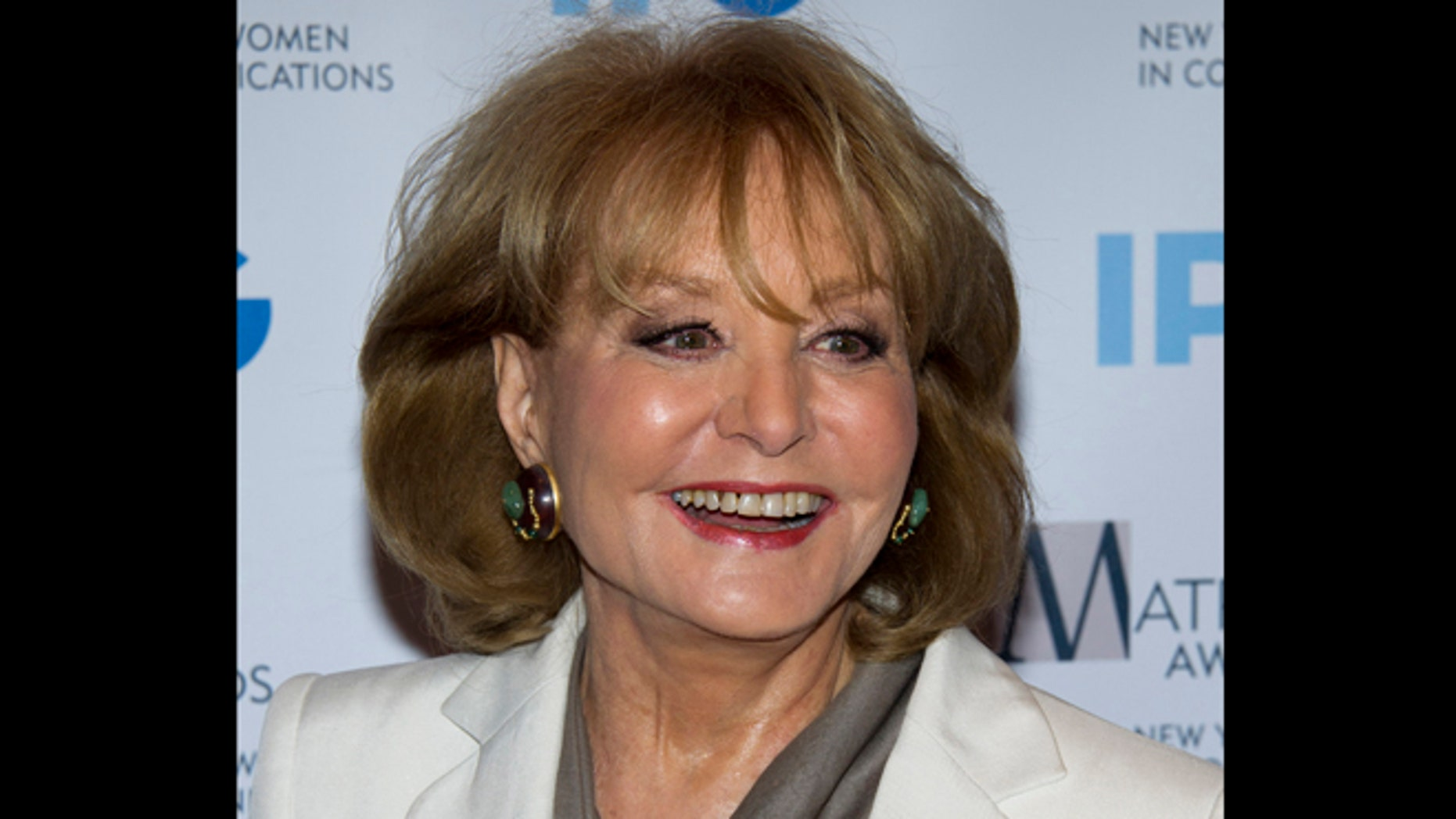 April 23, 2012: Photo, veteran ABC newswoman Barbara Walters arrives to the Matrix Awards in New York. Walters has fallen at an inauguration party in Washington and has been hospitalized, according to an ABC News spokesman, Sunday, Jan. 20, 2013.