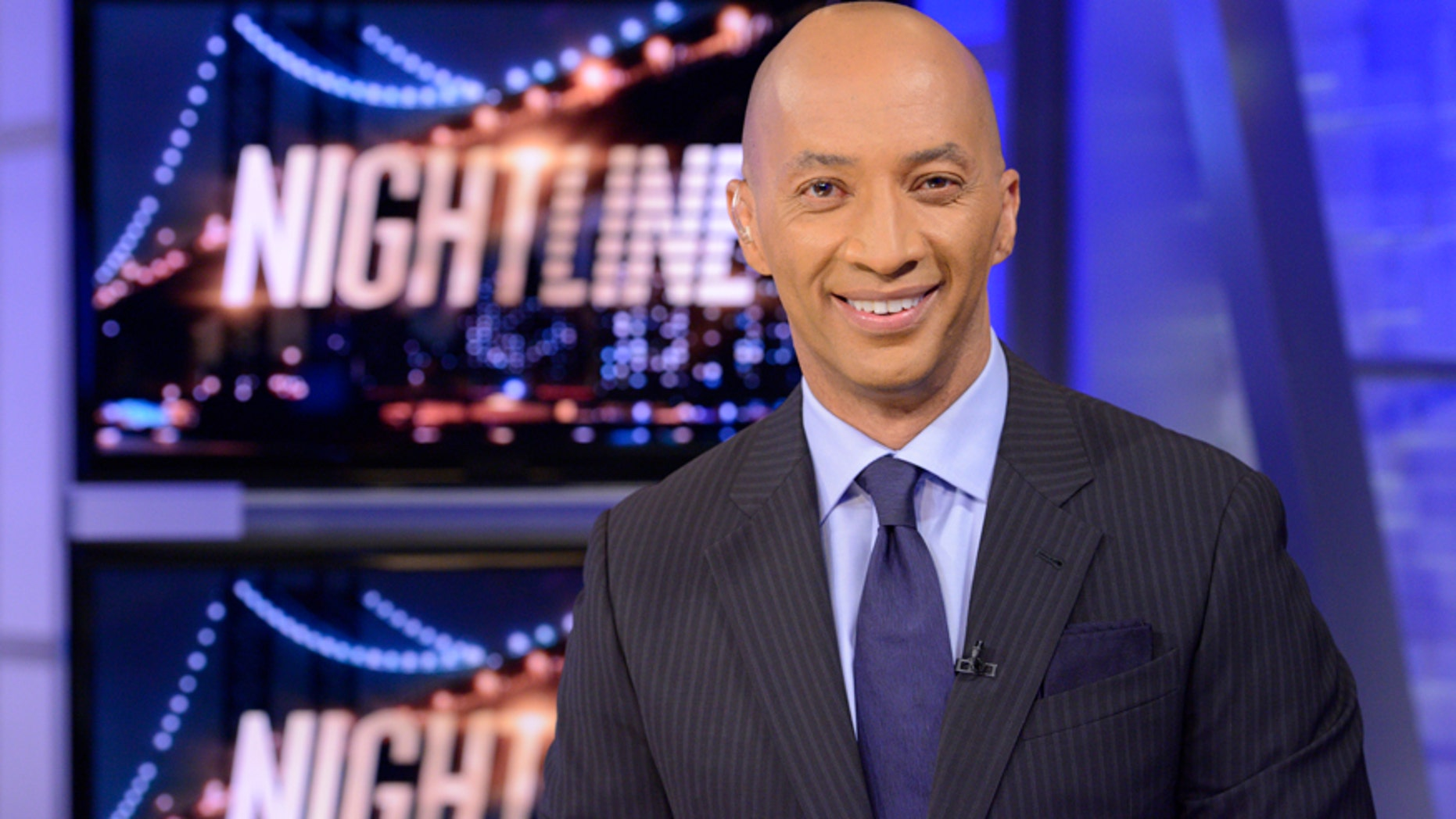 """In this image released by ABC, ABC News' chief national correspondent Byron Pitts appears on the set of """"Nightline,"""" in New York."""