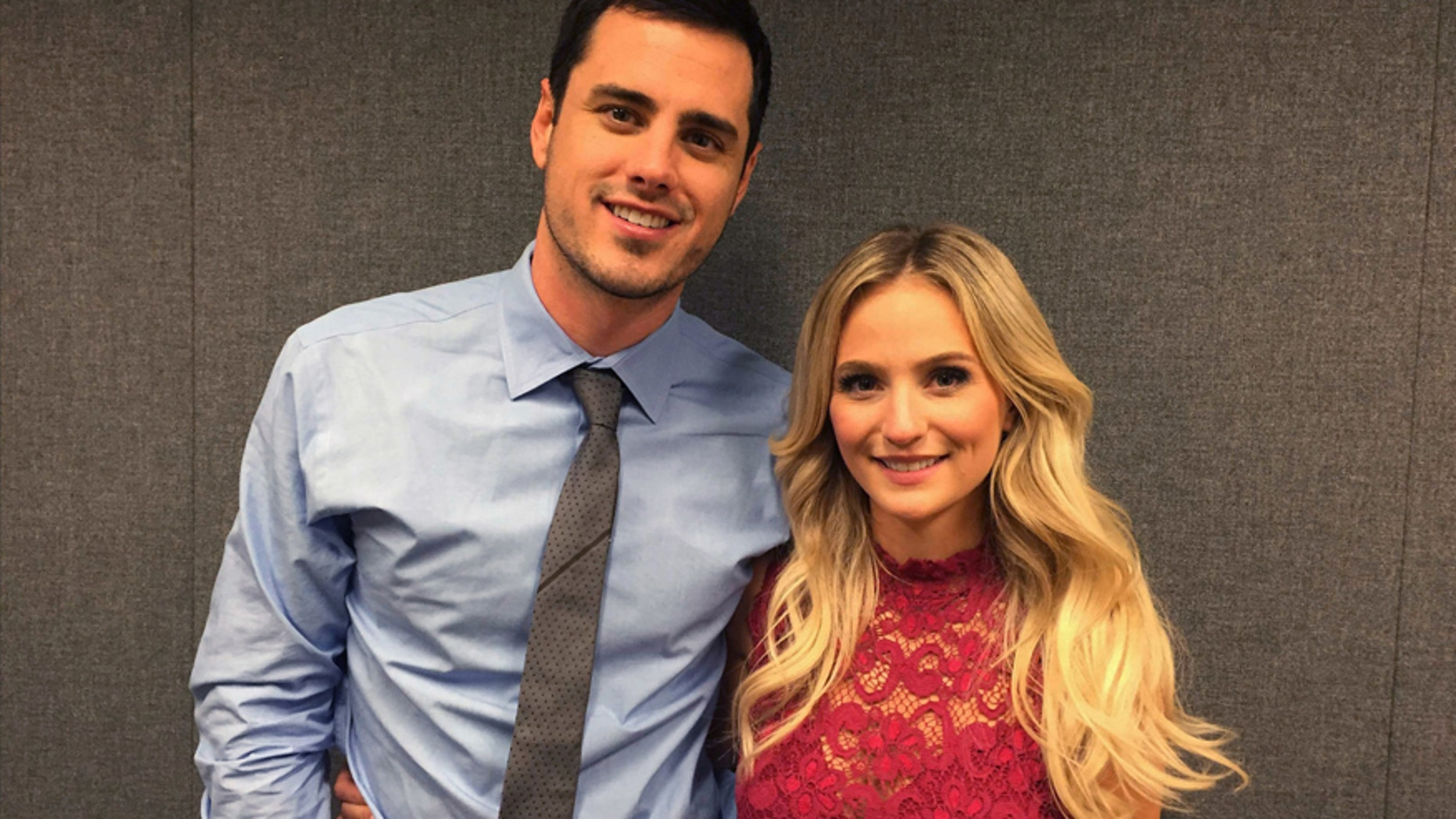 """Ben Higgins and Lauren Bushnell pose for a photo, Tuesday, March 15, 2016, in New York. Higgins proposed marriage to Bushnell in the season finale of ABC's """"The Bachelor."""" The show just wrapped its 20th season."""