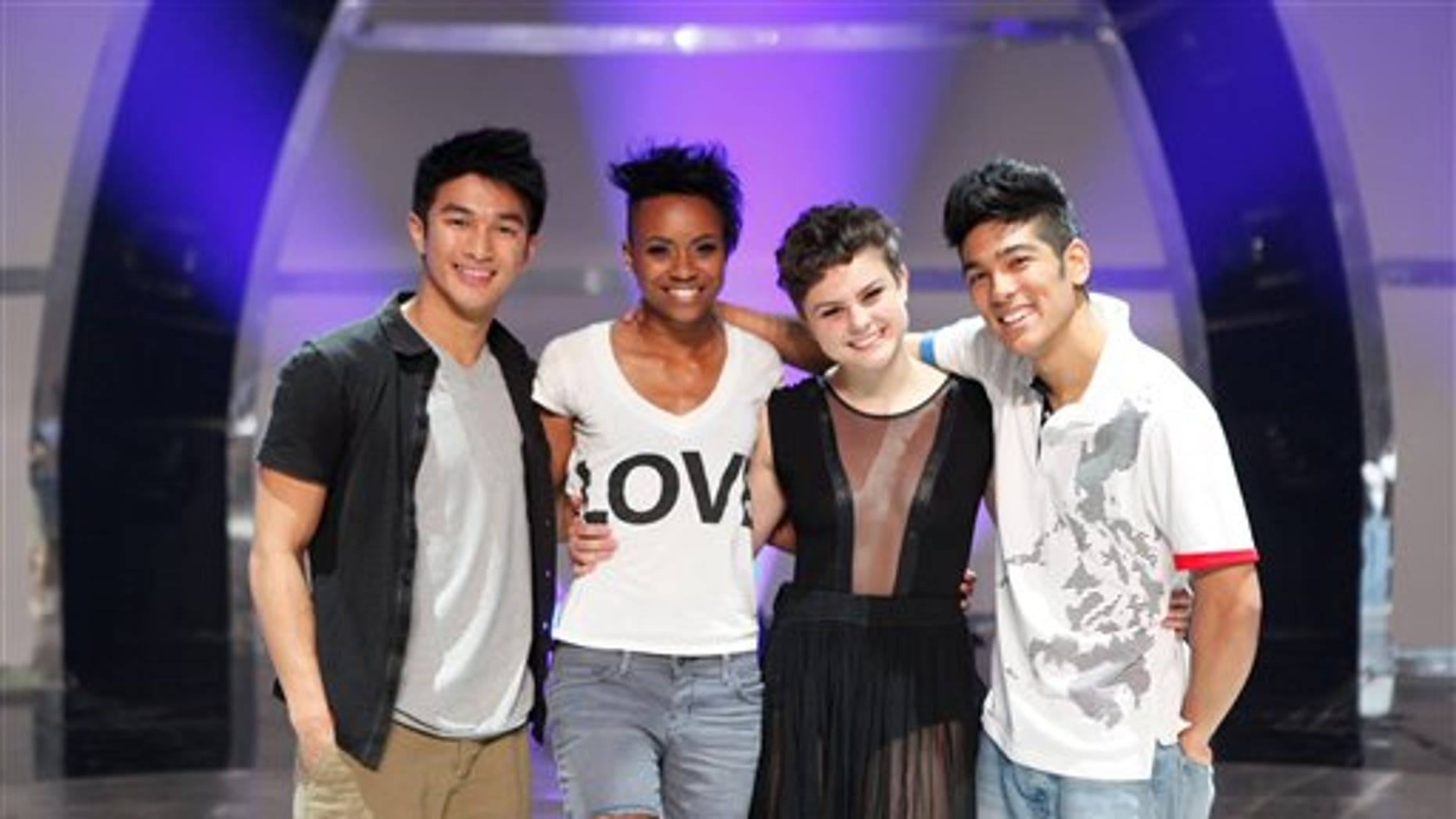 """August 4: In this image released by Fox, contestants from left, Marko Germar, Sasha Mallory, Melanie Moore and Tadd Gadduang, from the dance competition series """"So You Think You Can dance,"""" are shown in Los Angeles."""