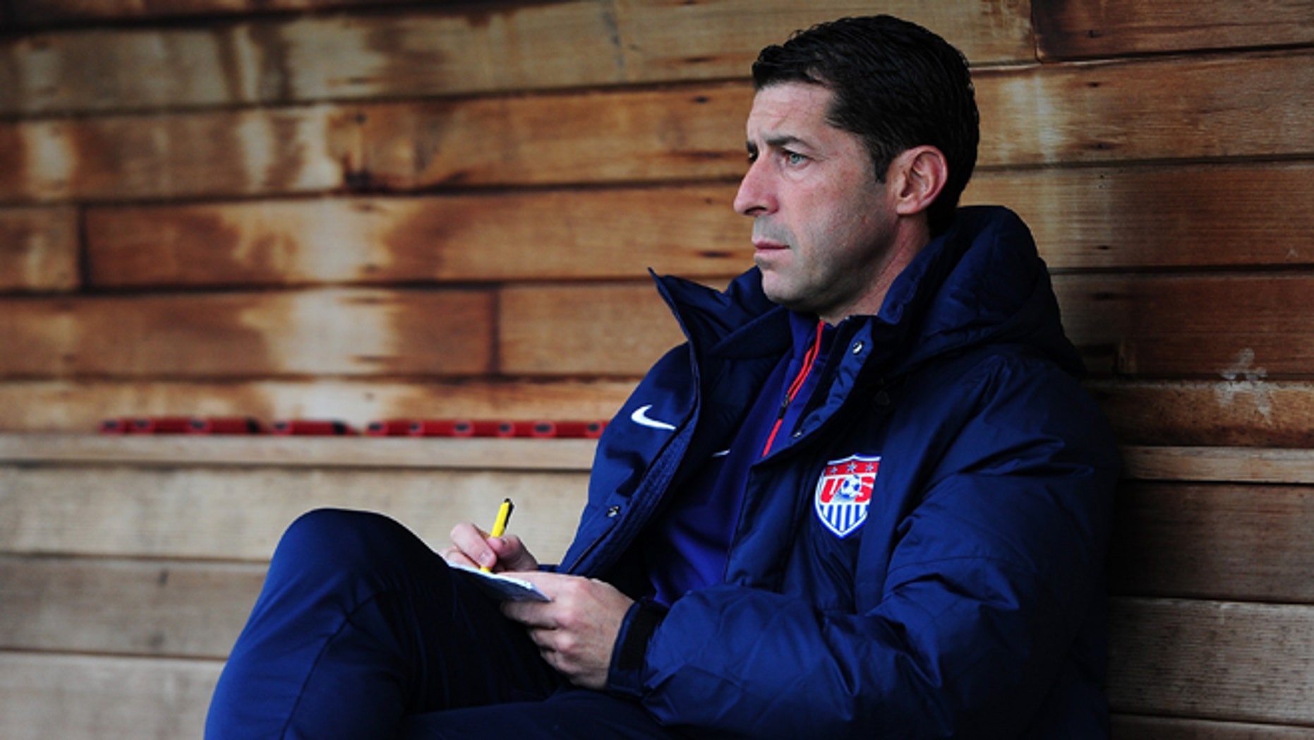 PLYMOUTH, ENGLAND - MARCH 29:  Tab Ramos, Head Coach of USA U20s looks on ahead of the International Friendly match between England U20 and USA U20 at Home Park on March 29, 2015 in Plymouth, England.  (Photo by Dan Mullan/Getty Images)