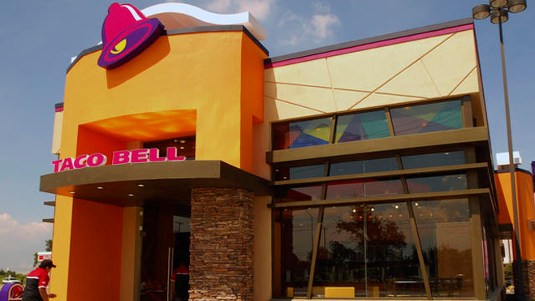The exterior of a recently opened Taco Bell in Apodaca in northern Mexico, Wednesday, Oct. 3, 2007. Taco Bell is taking on the homeland of its namesake by reopening for the first time in 15 years in Mexico. (AP Photo/Monica Rueda)