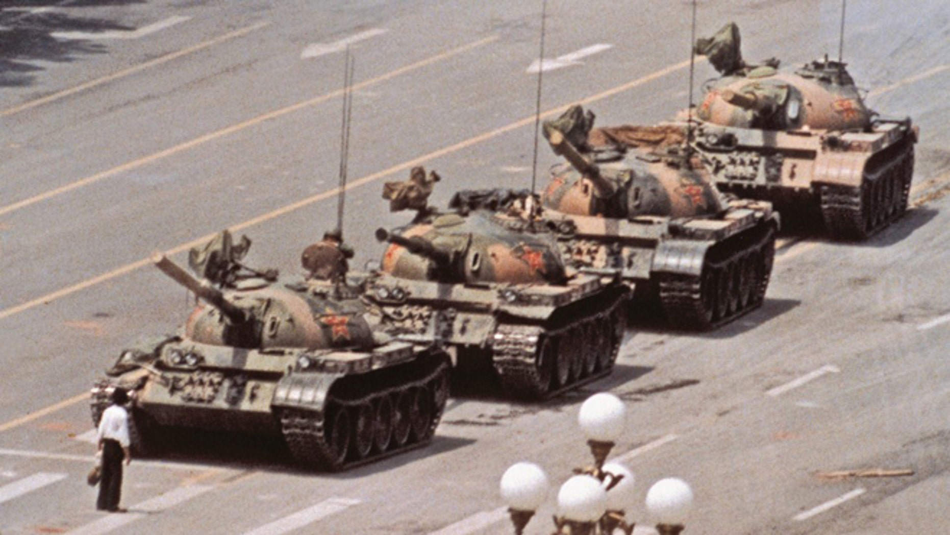 The famous photo of Tank Man in Tiananmen Square, Beijing, June 5, 1989. (Photo: Jeff Widener/Associated Press)