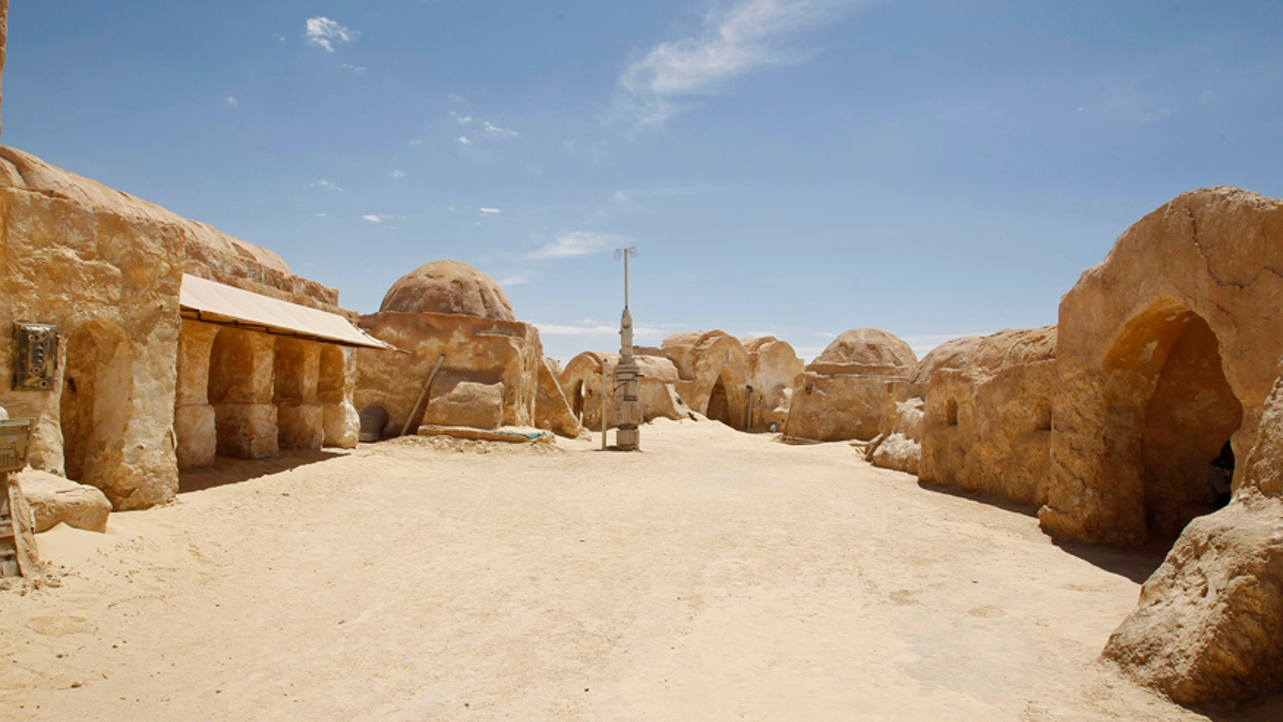 A view of the Star Wars movie set is seen at Ong Jmal, in Nefta, May 3, 2014.