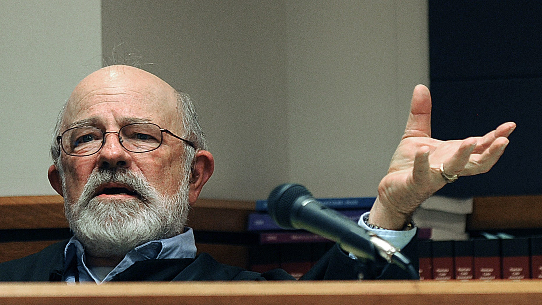 Undated file photo of District Judge G. Todd Baugh at a hearing in Great Falls, Mont.