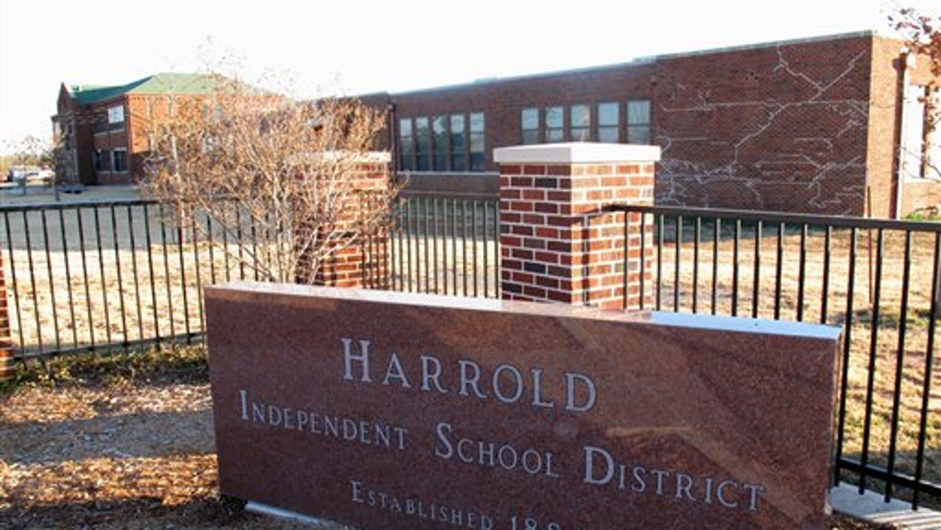 Dec. 17, 2012: Tthe sign in front of the Harrold Independent School District in Harrold, Texas.