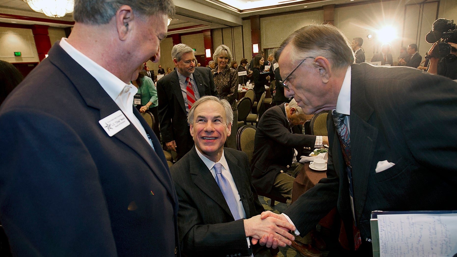 Texas AG Greg Abbott, Republican candidate for Governor, greets supporters on Jan. 10, 2014 in Austin, Texas.