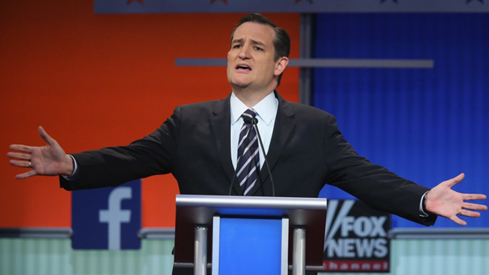 Republican presidential candidate Sen. Ted Cruz (R-TX) fields a question during the first Republican presidential debate hosted by Fox News and Facebook at the Quicken Loans Arena on August 6, 2015 in Cleveland, Ohio. (Photo by Scott Olson/Getty Images)
