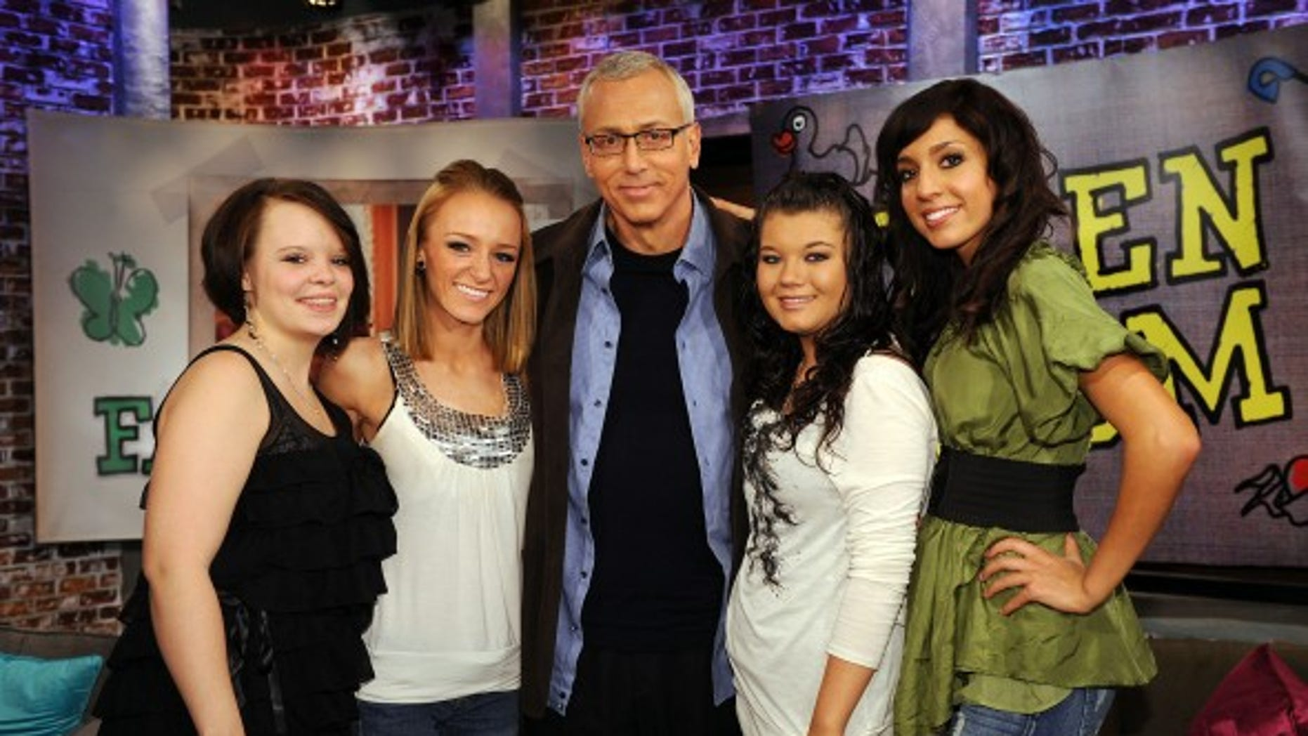 The stars of 'Teen Mom.' Amber Portwood is the third mom from the left. (MTV)