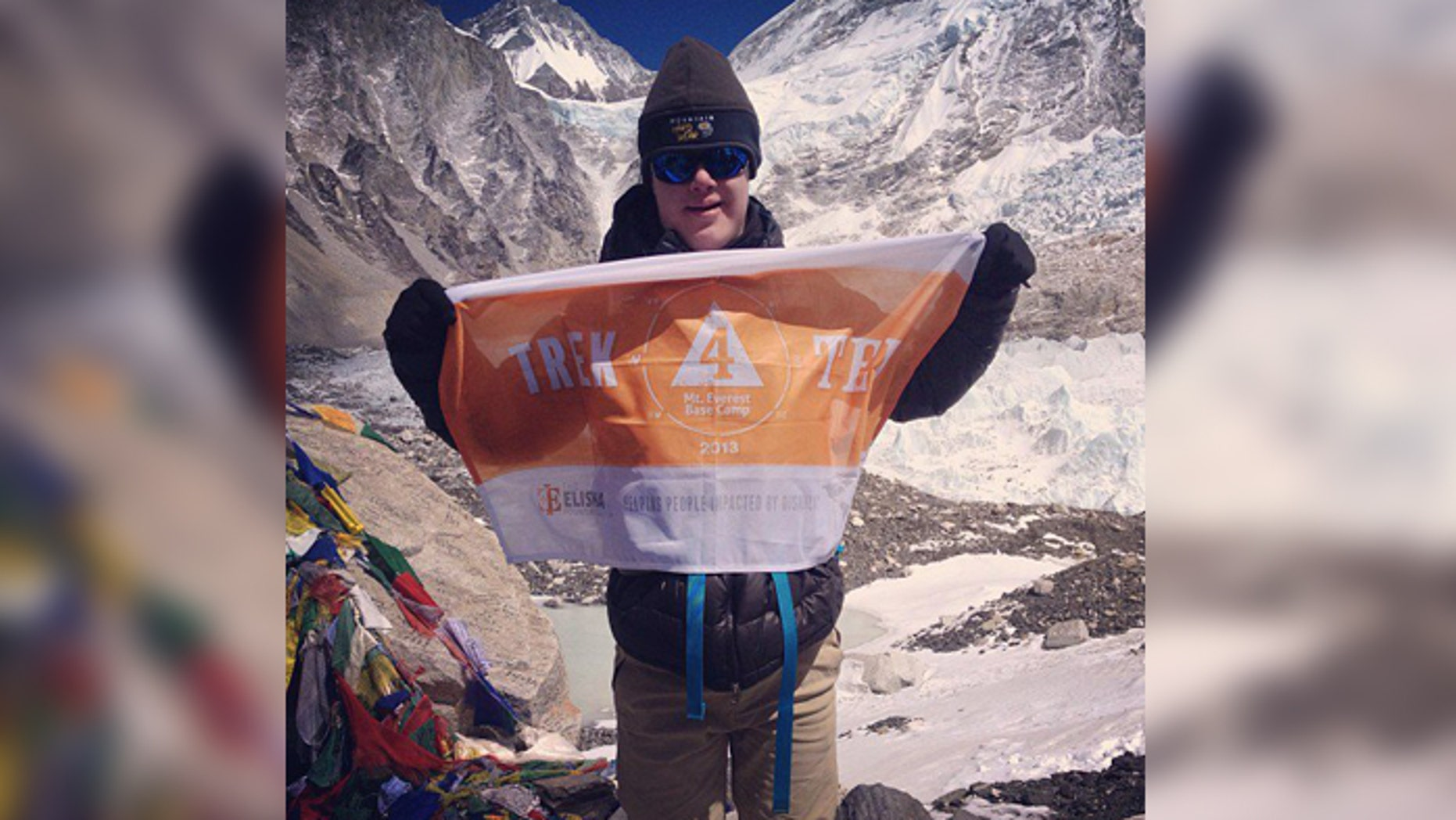 Eli Reimer at Mt. Everest's South Base Camp in Nepal.