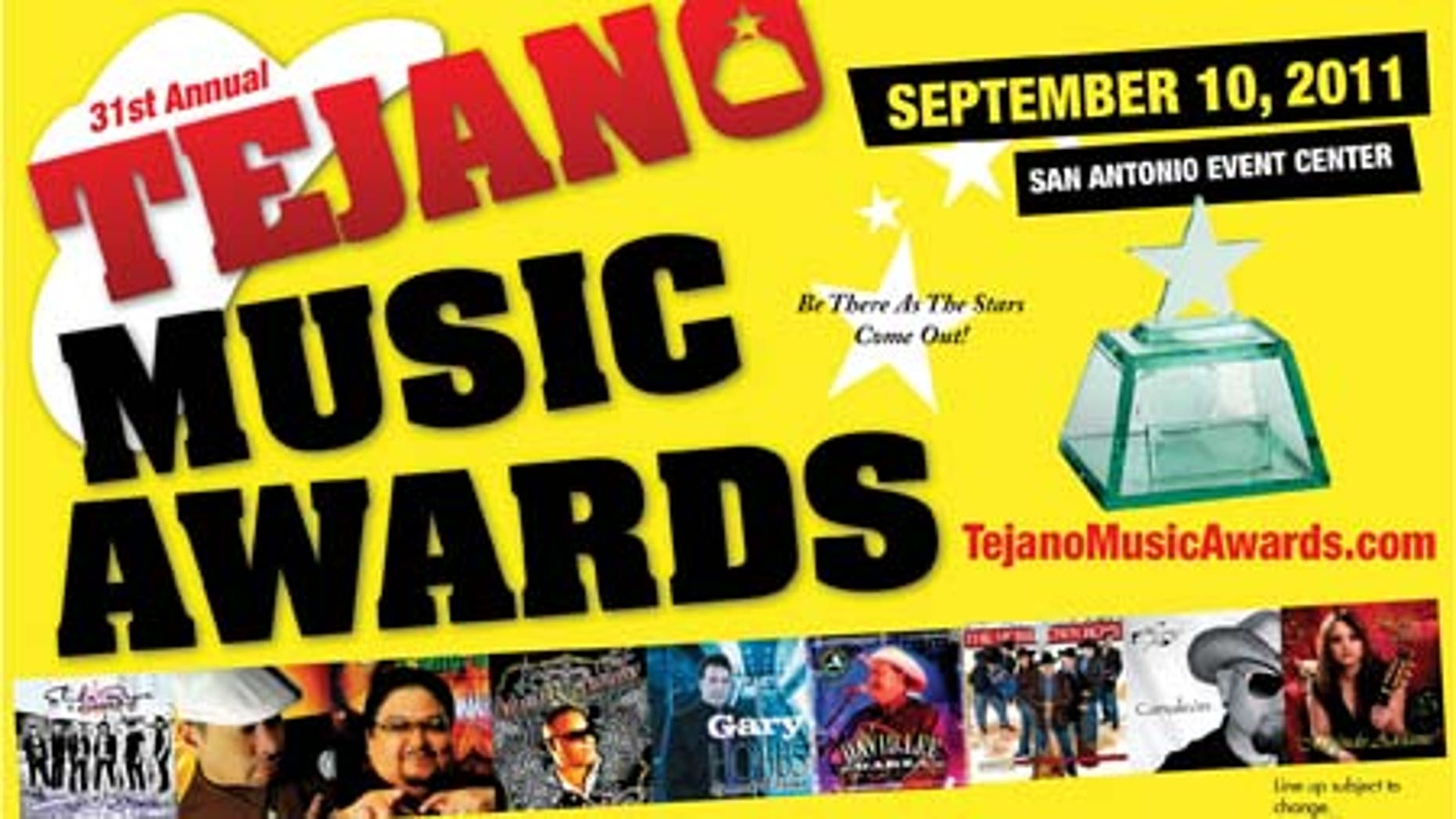 The 31st Annual Tejano Music Awards are scheduled to  take place Saturday, September 10, 2011 at the San Antonio Event Center in San Antonio, Texas.