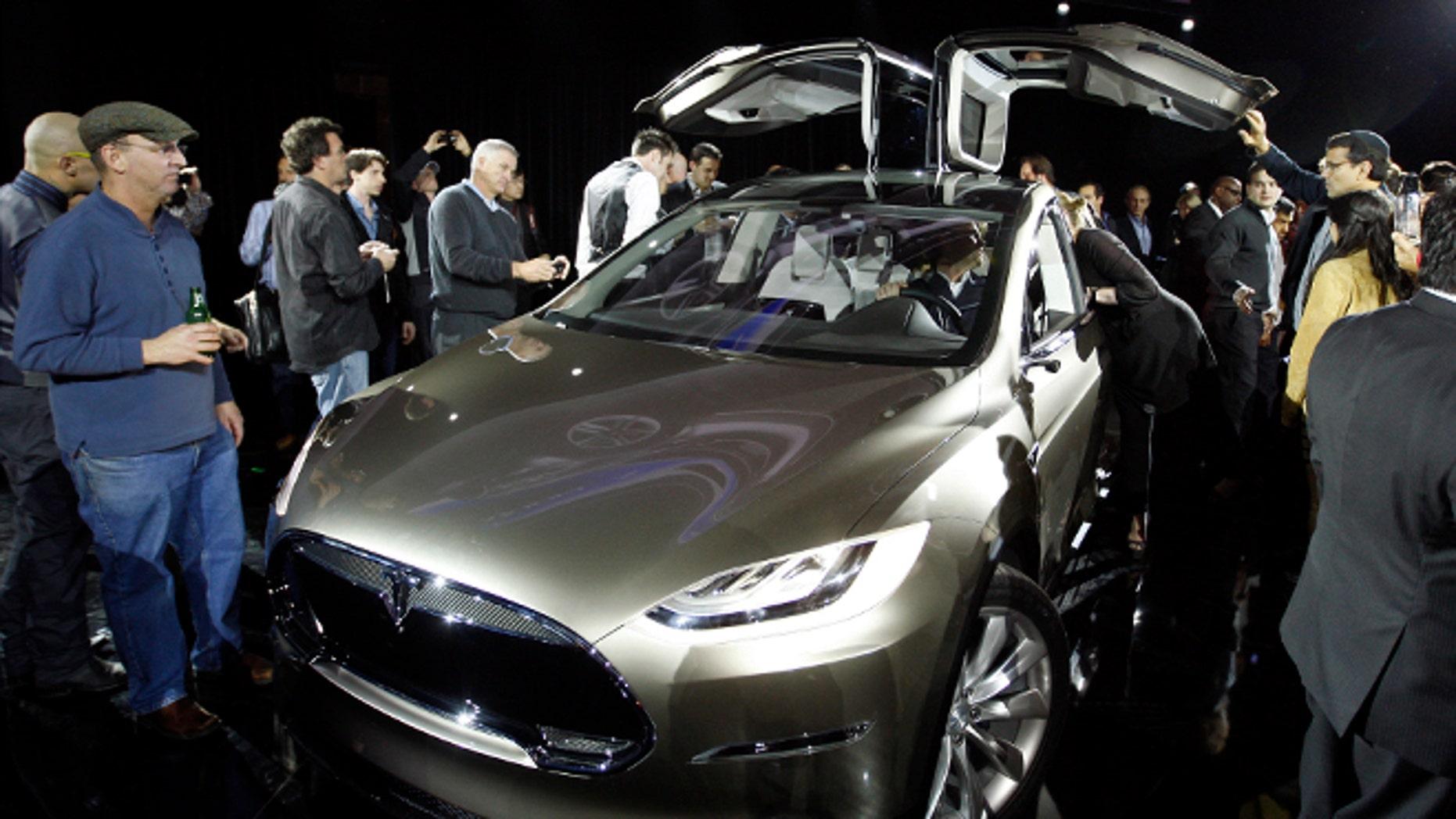 FILE: February 9, 2012: The Tesla Motors Model X at the company's design studio in Hawthorne, Calif. o