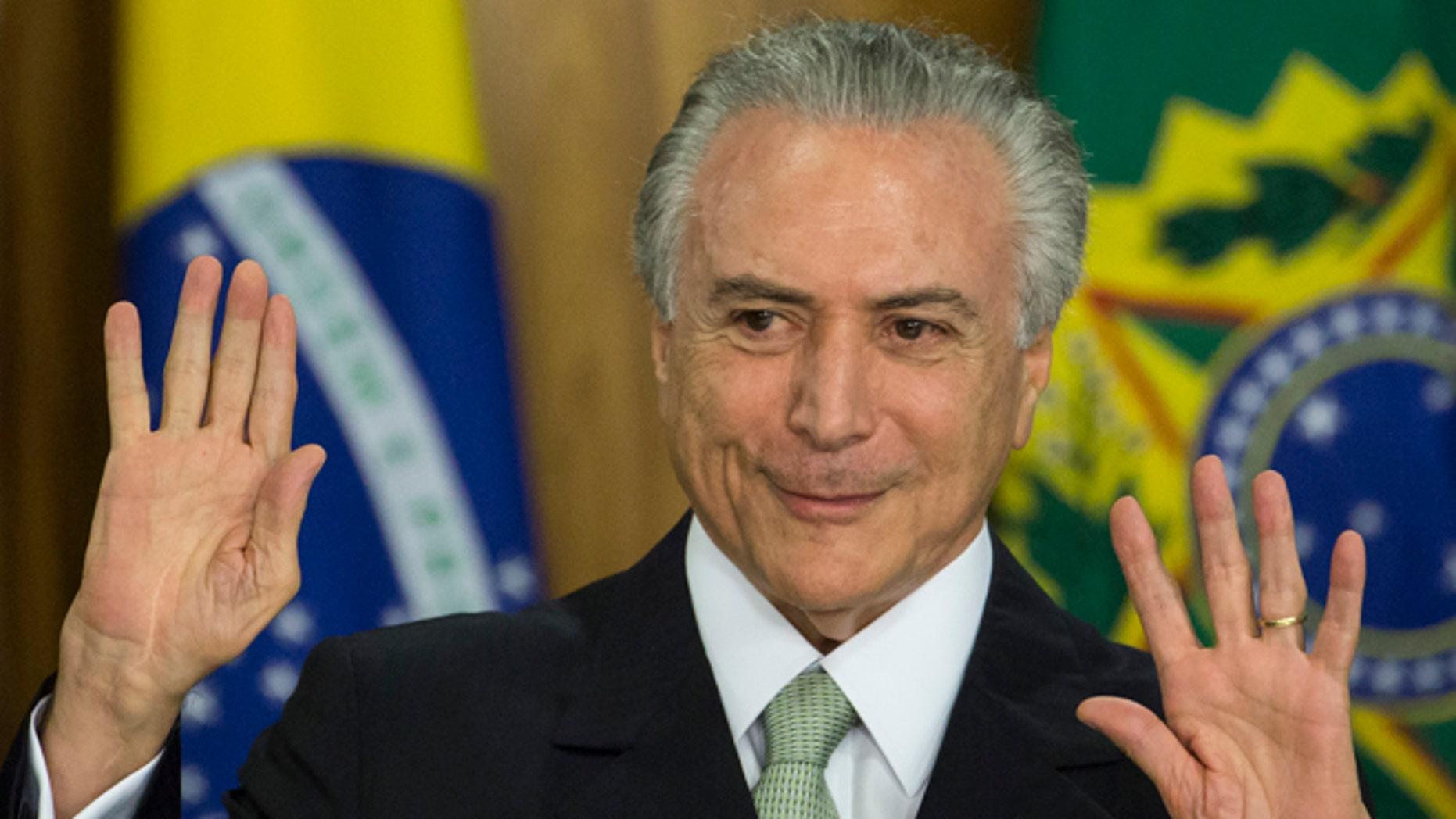 Brazil's acting President Michel Temer in Brasilia, Brazil, Thursday, May 12, 2016.