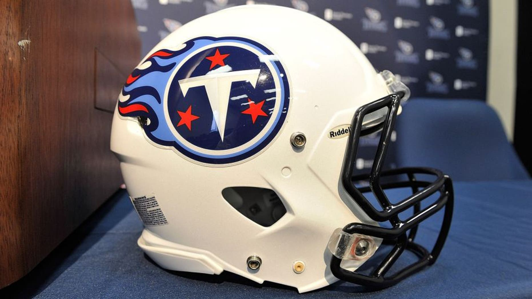 NASHVILLE, TN - JANUARY 14: A close up of a helmet of the Tennessee Titans rests on a table during a press conference at the Saint Thomas Sports Park on January 14, 2014 in Nashville, Tennessee. (Photo by Frederick Breedon/Getty Images)