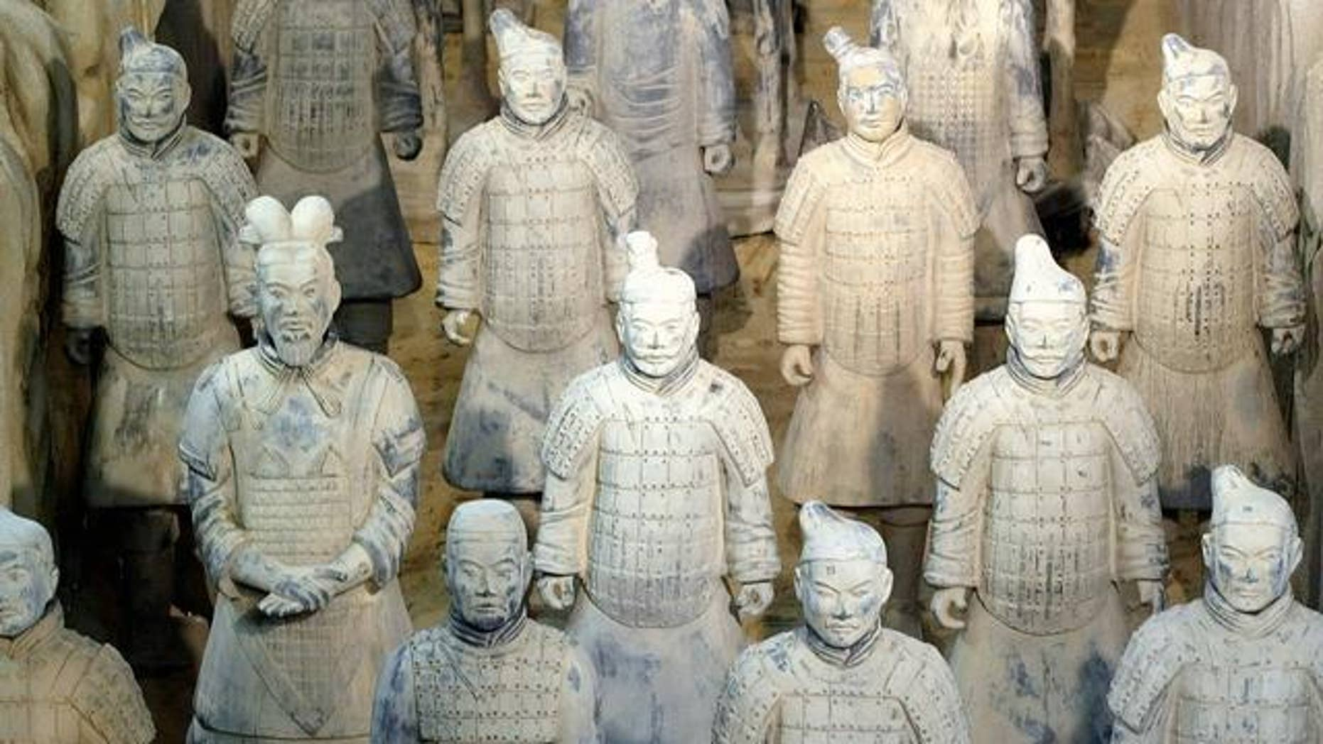 Oct. 16, 2004: Copies of Chinese terracotta soldiers, at exhibition in Berlin, Germany.