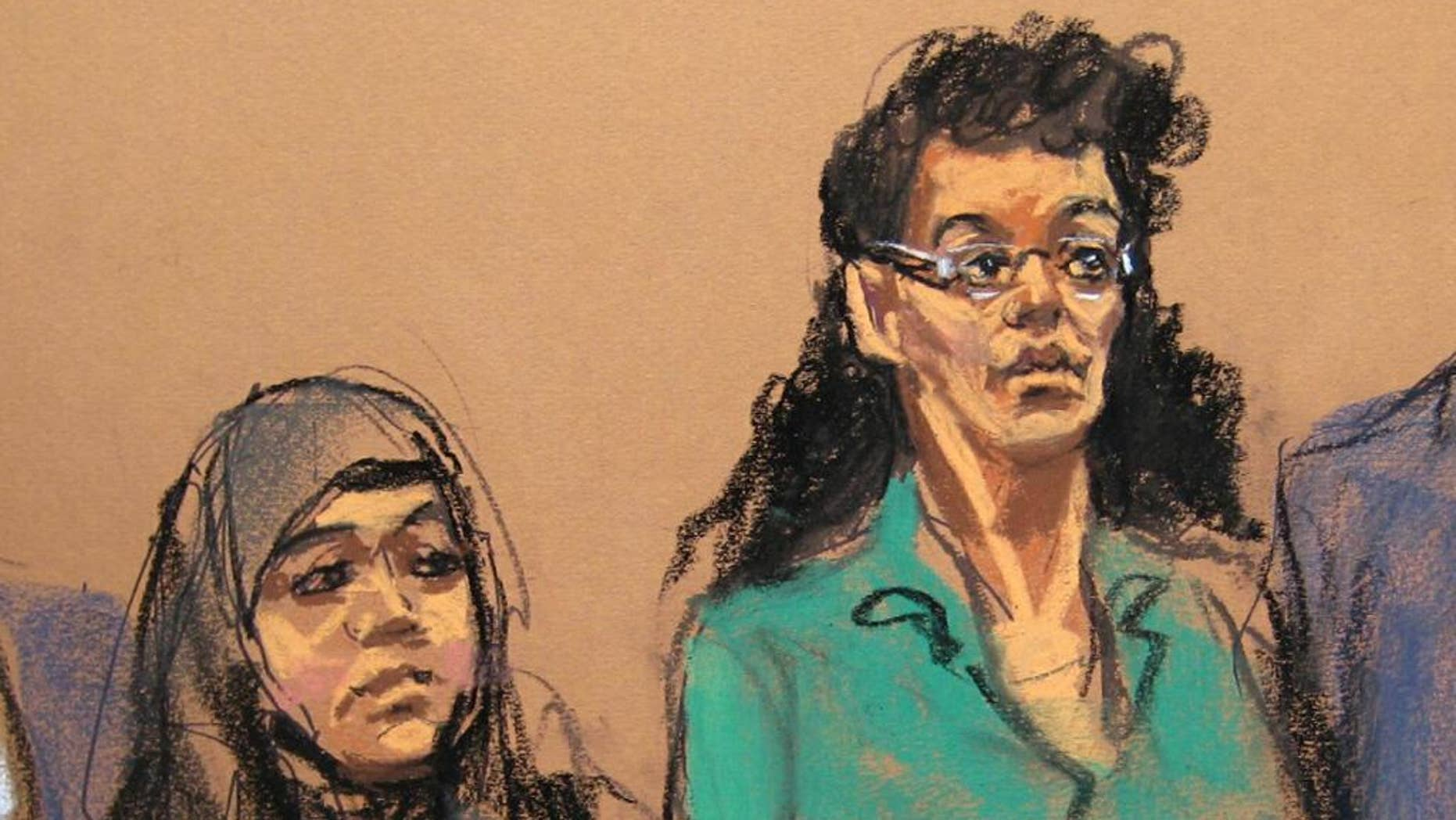 "FILE- In this April 2, 2015 courtroom sketch, defendants Noelle Velentzas, left and Asia Siddiqui, appear at federal court in New York on charges they plotted to wage violent jihad by building a homemade bomb and using it for a Boston Marathon-type terror attack. According to prosecutors, the pair weren't interested in taking on the subservient role of going overseas to marry the militant group fighters, but sought to ""make history"" on their own by building a bomb and attacking a domestic target. (AP Photo/Jane Rosenberg, File)"
