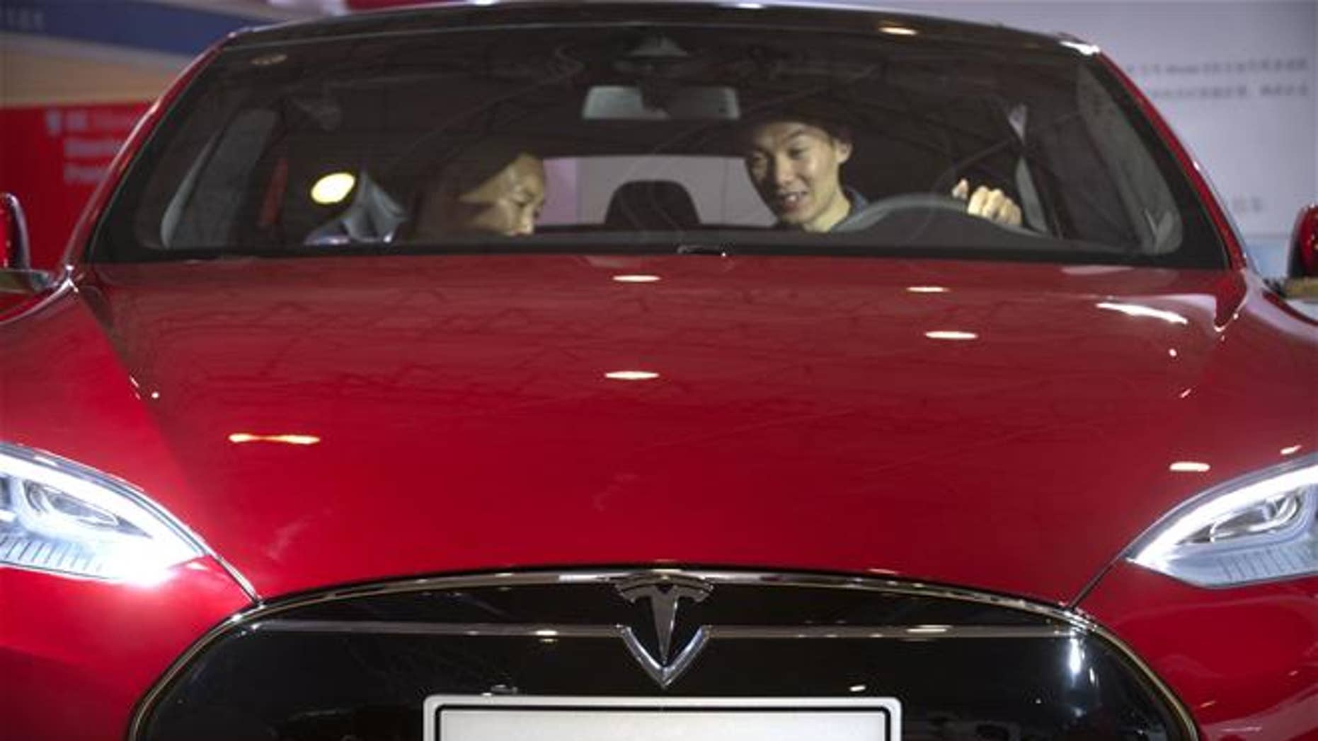A Tesla Model S is displayed in Beijing.