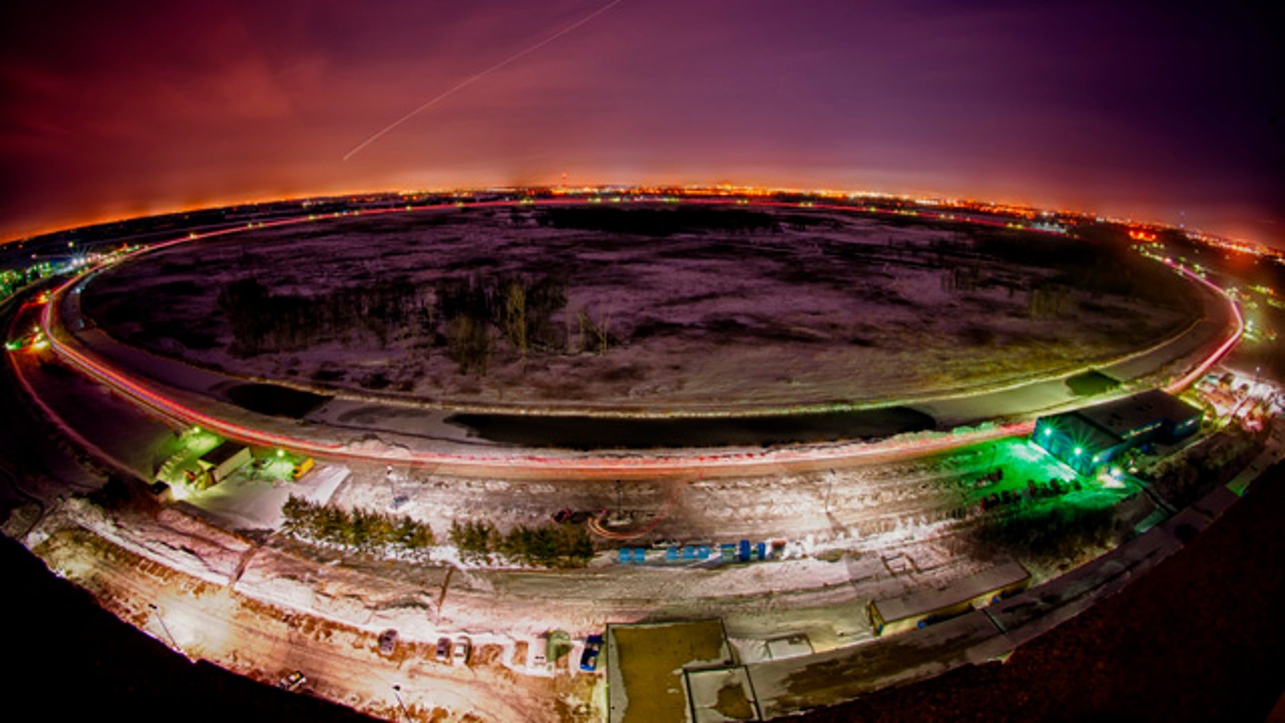 The 4-mile in circumference Tevatron accelerator uses superconducting magnets chilled to minus 450 degrees Fahrenheit, as cold as outer space, to move particles at nearly the speed of light.