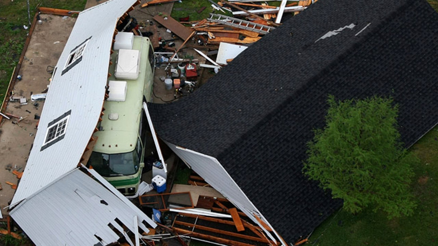 April 3: A structure in Arlington is destroyed after a tornado tore through the Dallas area.