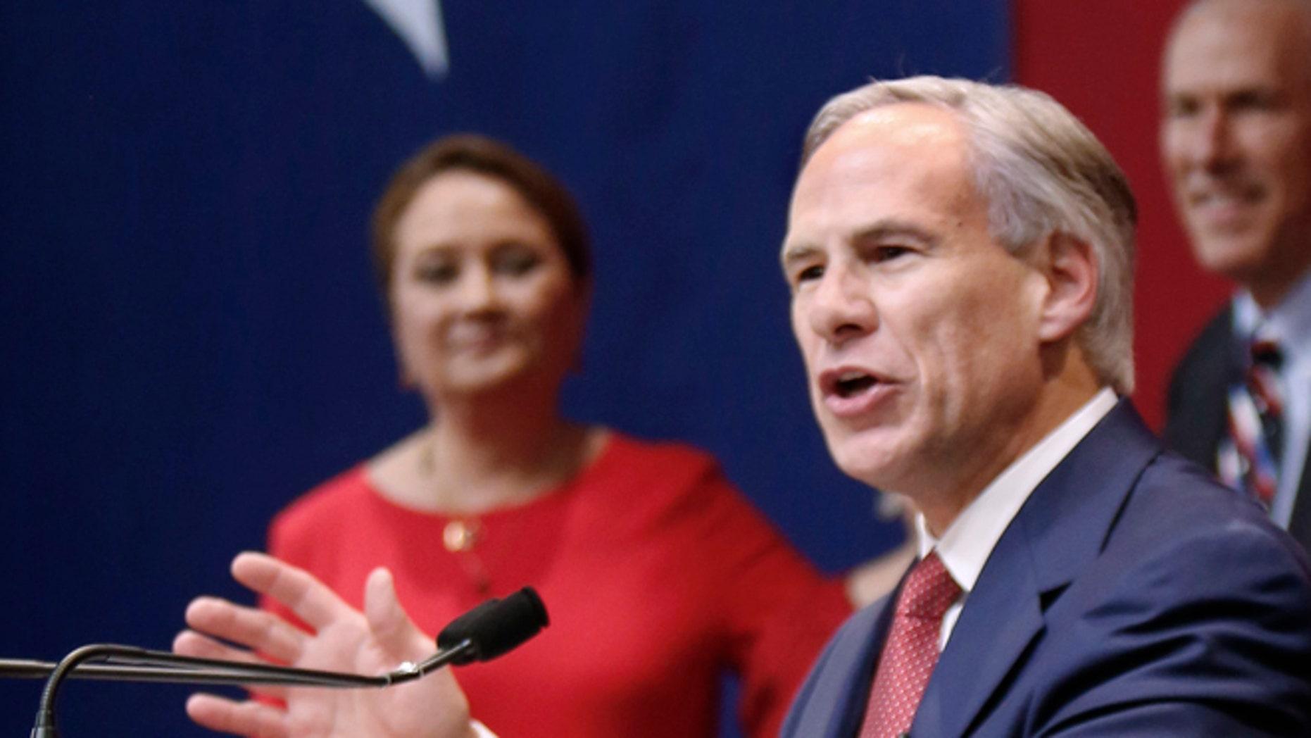 AUSTIN, TX - NOVEMBER 4:  Texas Governor-elect Greg Abbott speaks during his victory party on November 4, 2014 in Austin, Texas. Abbott defeated Democratic challenger Texas State Sen. Wendy Davis. (Photo by Erich Schlegel/Getty Images)