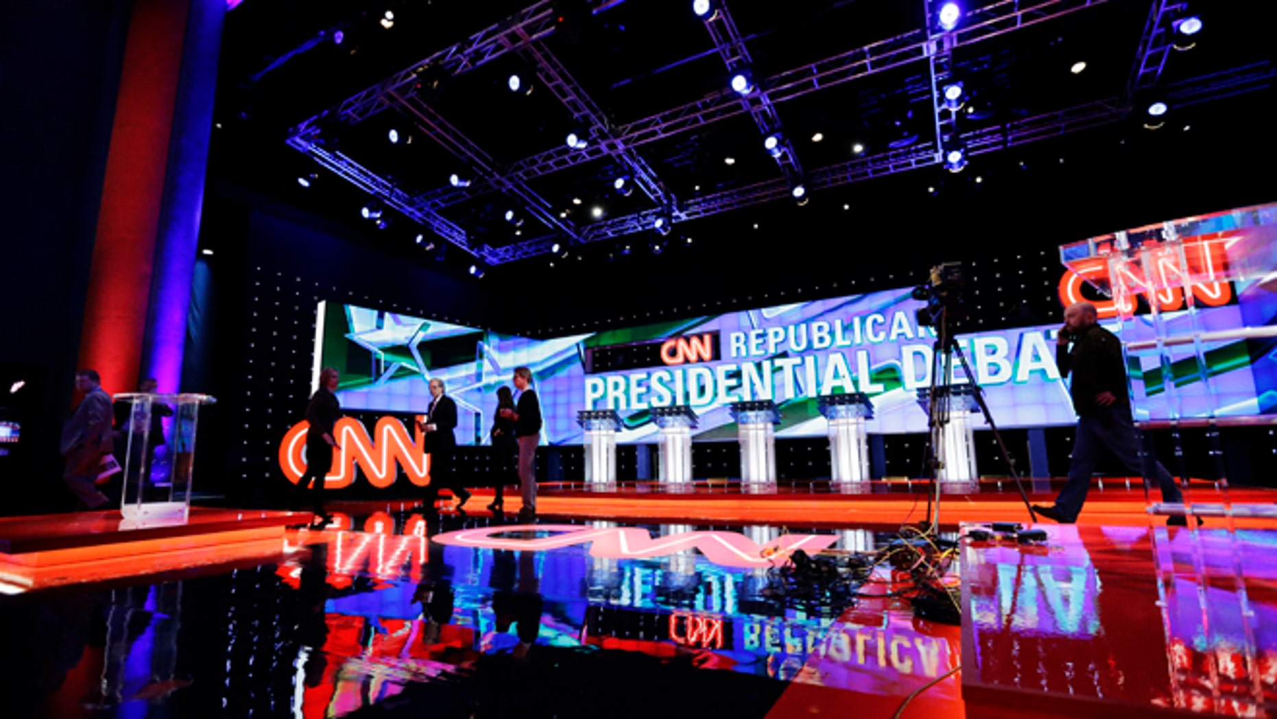 The hall is set before a Republican presidential primary debate at The University of Houston, Thursday, Feb. 25, 2016, in Houston. (AP Photo/David J. Phillip)
