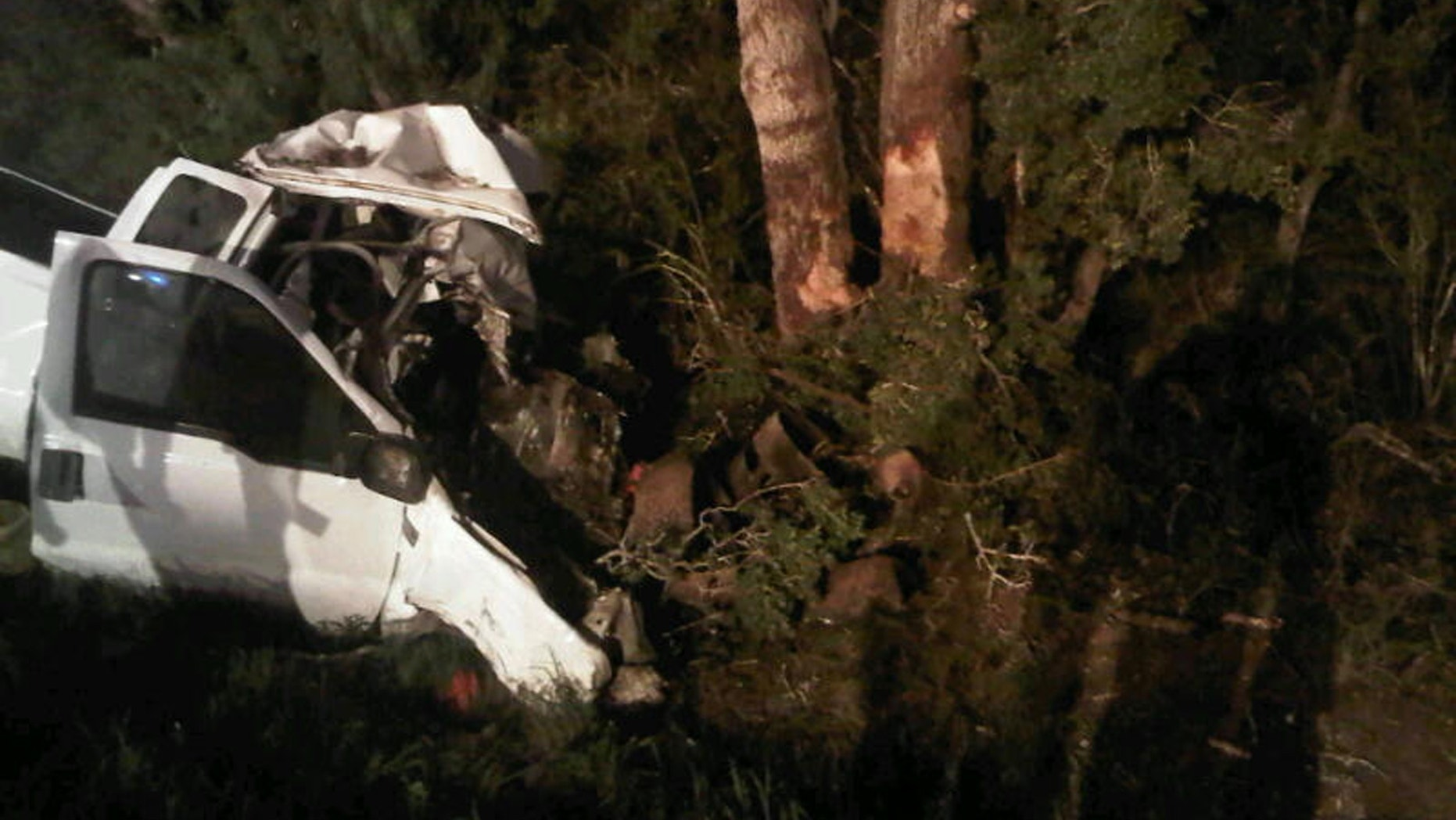 July 22, 2012: The wreckage of a pickup truck is seen after it crashed into trees in Goliad County.