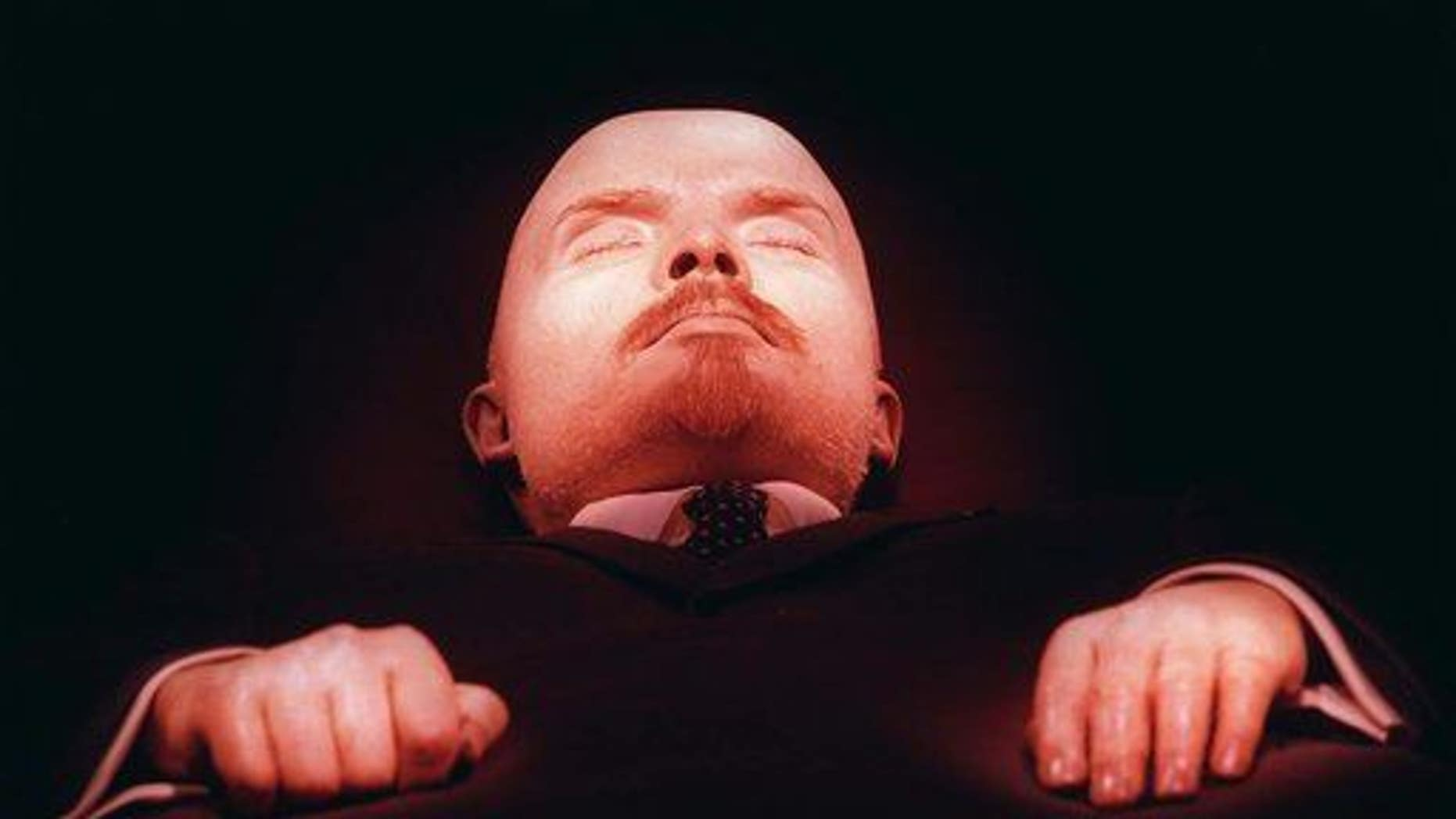 In this April 16, 1997 file photo, the embalmed body of Vladimir Lenin, founder of the Soviet Union, is on display in his tomb on Moscow's Red Square.