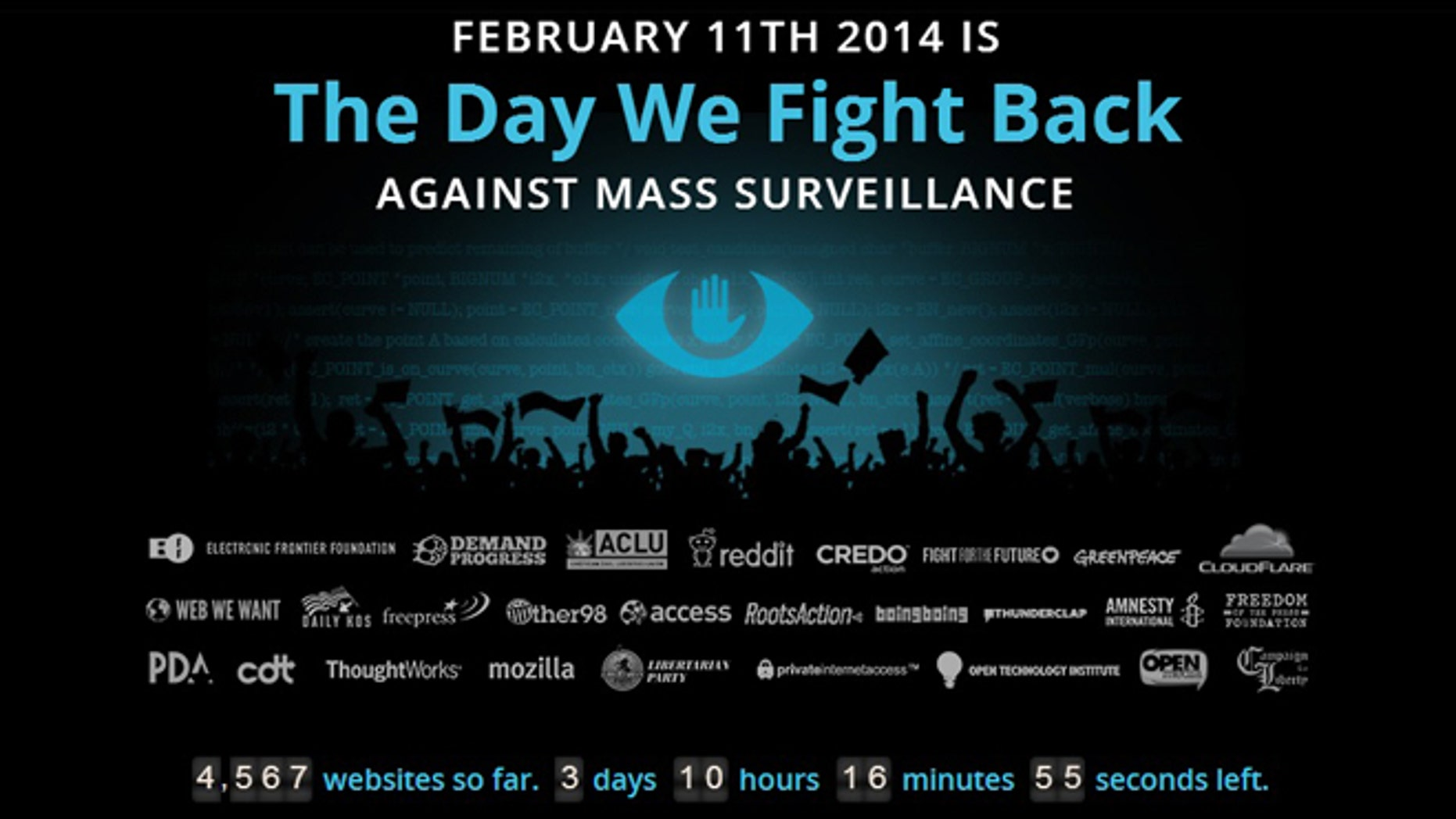 A screenshot of thedaywefightback.org, where more than 4,500 websites have signed up to display embeddable banners and widgets on their sites that prompt visitors to call or email their members of congress in support of the USA Freedom Act.