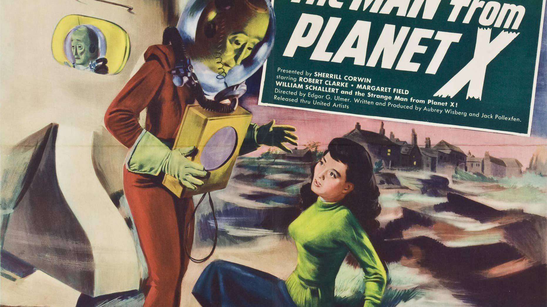 "An ostensibly friendly alien acts as an advance scout to lead his civilization from its dying planet to Earth in the 1951 sci-fi film ""The Man From Planet X."""