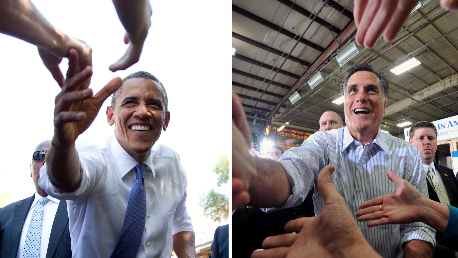In this photo combination, President Barack Obama, left, reaches out to shake hands after speaking at a campaign event at Capital University on Tuesday, Aug. 21, 2012, in Columbus, Ohio and Republican presidential candidate, Mitt Romney, shakes hands with supporters after finishing his speech during a rally at Guerdon Enterprises in Boise, Idaho  Friday, Feb. 17, 2012. Two months out from Election Day, nearly a quarter of all registered voters are either undecided about the presidential race or iffy in their support for a candidate, an Associated Press-GfK poll shows. These voters could well prove decisive in a close contest. And they will be tough nuts for Barack Obama and Mitt Romney to crack. (AP Photo)