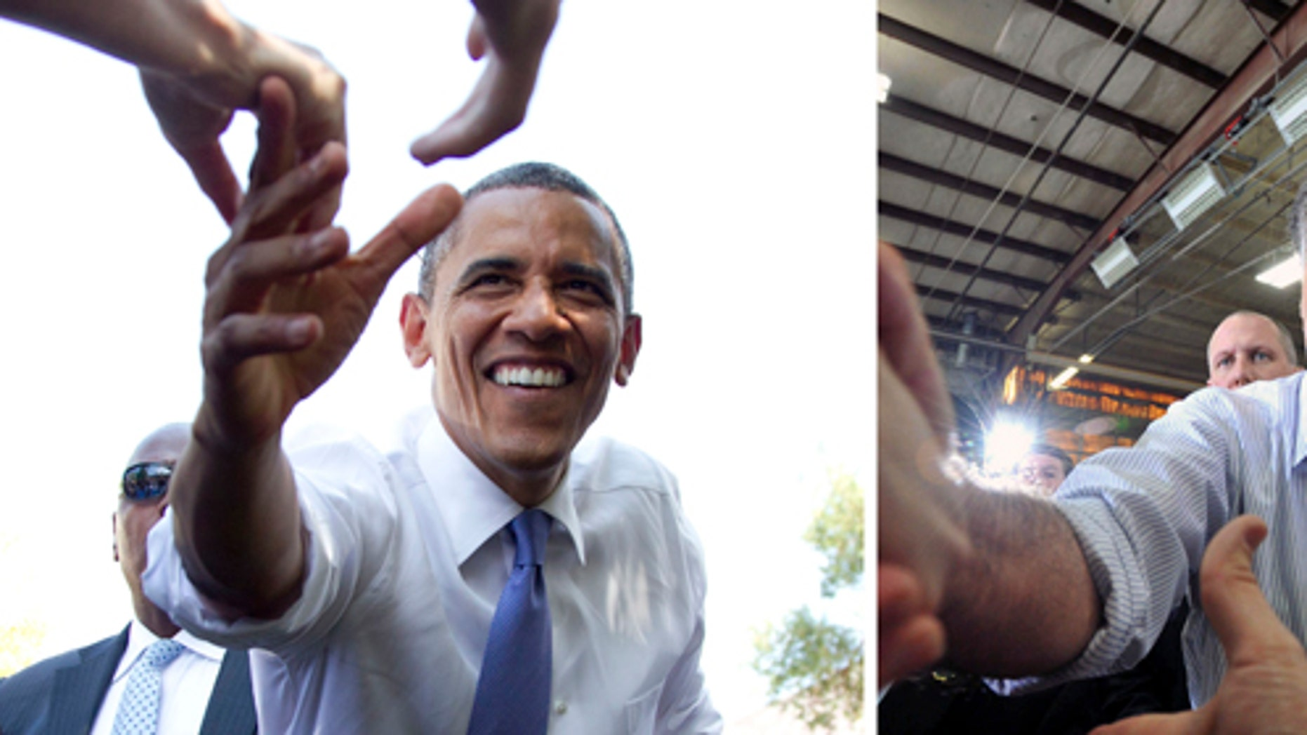 In this photo combination, President Barack Obama, left, reaches out to shake hands after speaking at a campaign event at Capital University on Tuesday, Aug. 21, 2012, in Columbus, Ohio and Republican presidential candidate, Mitt Romney, shakes hands with supporters after finishing his speech during a rally at Guerdon Enterprises in Boise, Idaho  Friday, Feb. 17, 2012. (AP Photo)