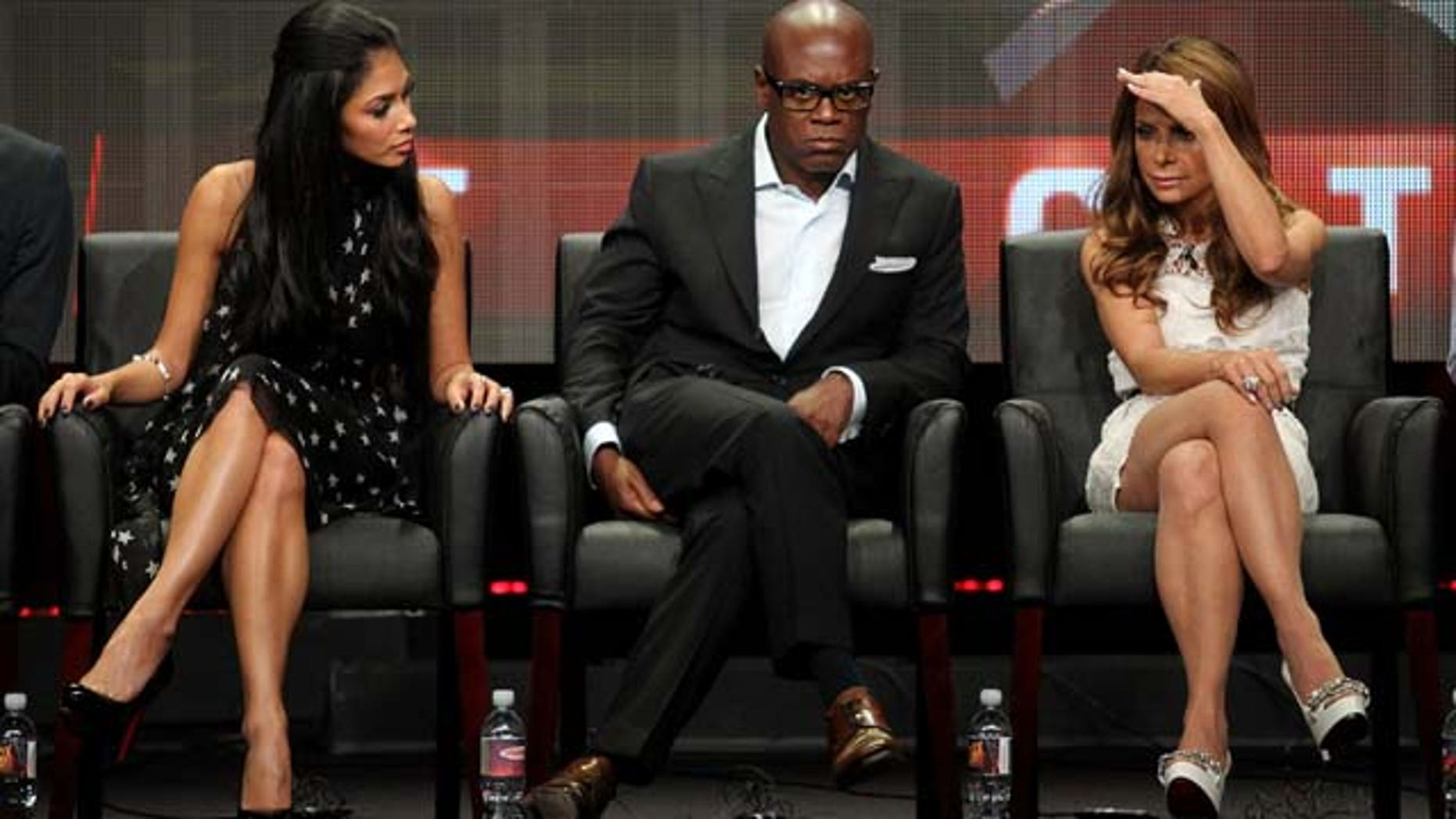 Aug. 5, 2011: TV personalities Nicole Scherzinger, L.A. Reid and Paula Abdul speak onstage at 'The X Factor' panel during the FOX portion of the 2011 Summer TCA Tour at the Beverly Hilton Hotel in Beverly Hills, Calif.