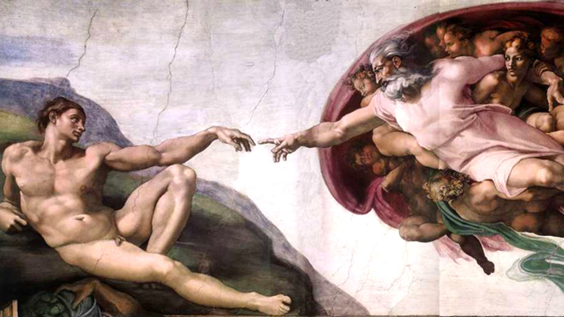 The Creation of Adam, a painting by Michelangelo depicting the biblical scene in which God creates the first man, from the ceiling of the Sistine Chapel.