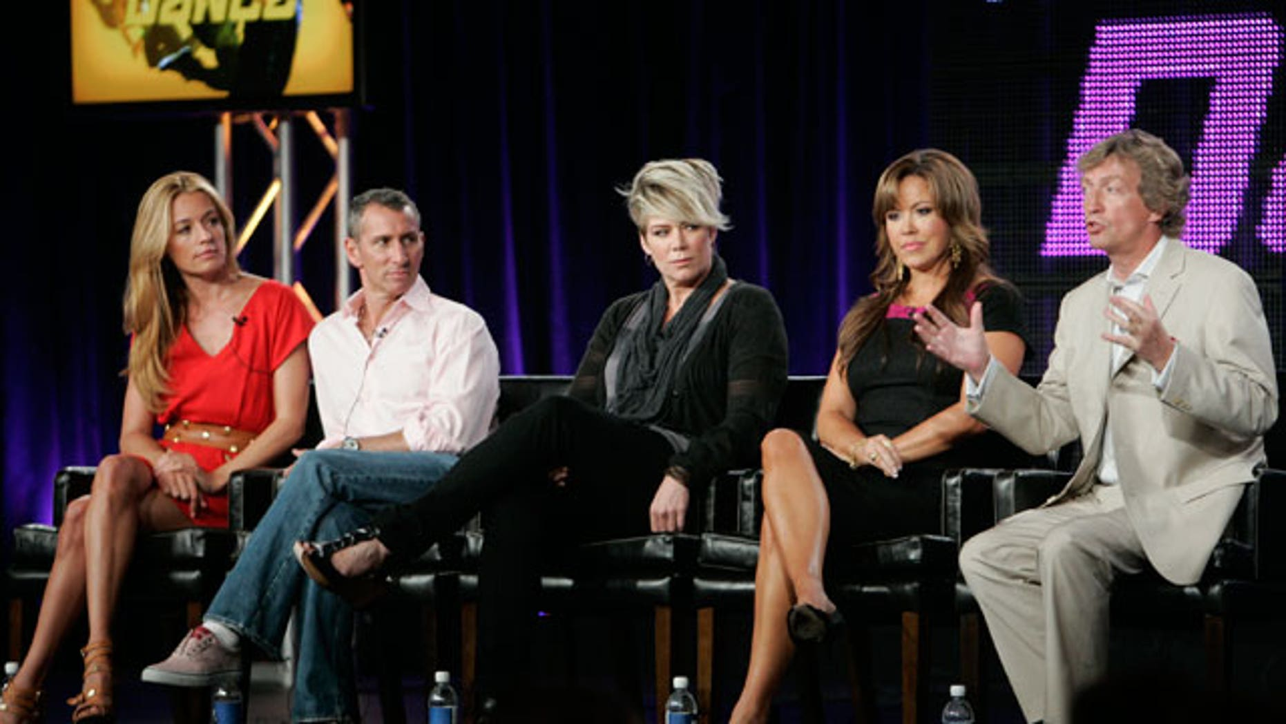 """Aug. 6: The host, judges and executiver producer of """"So You Think You Can Dance"""" (L-R) host Cat Deeley, guest judges Adam Shankman, Mia Michaels, judge Mary Murphy and executive producer and judge Nigel Lythgoe."""